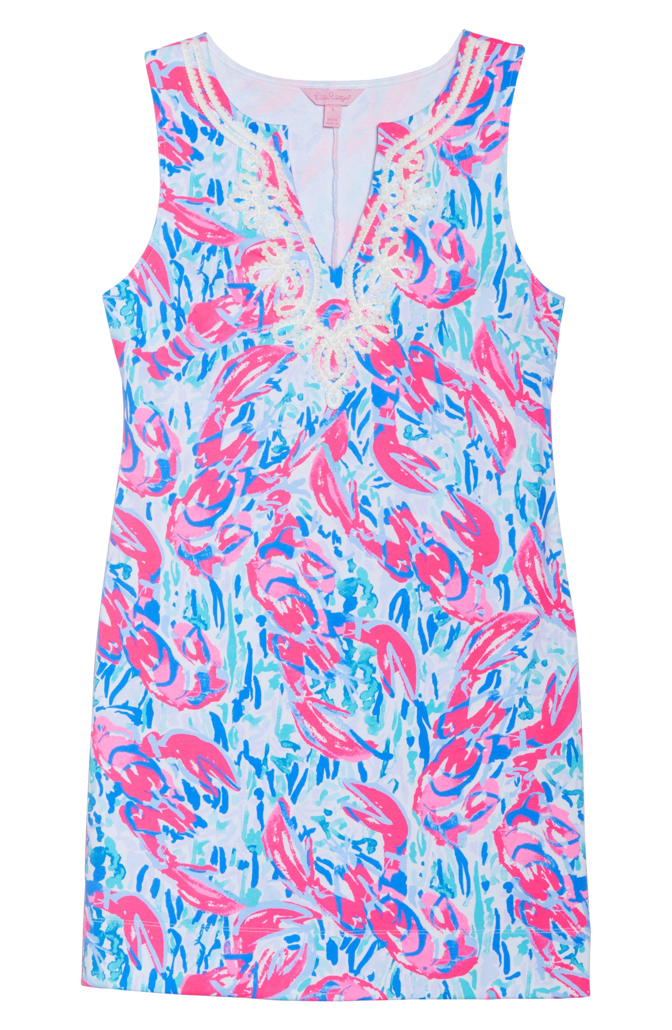 Harper Shift Dress,                             Alternate thumbnail 6, color,                             Cosmic Coral Cracked Up