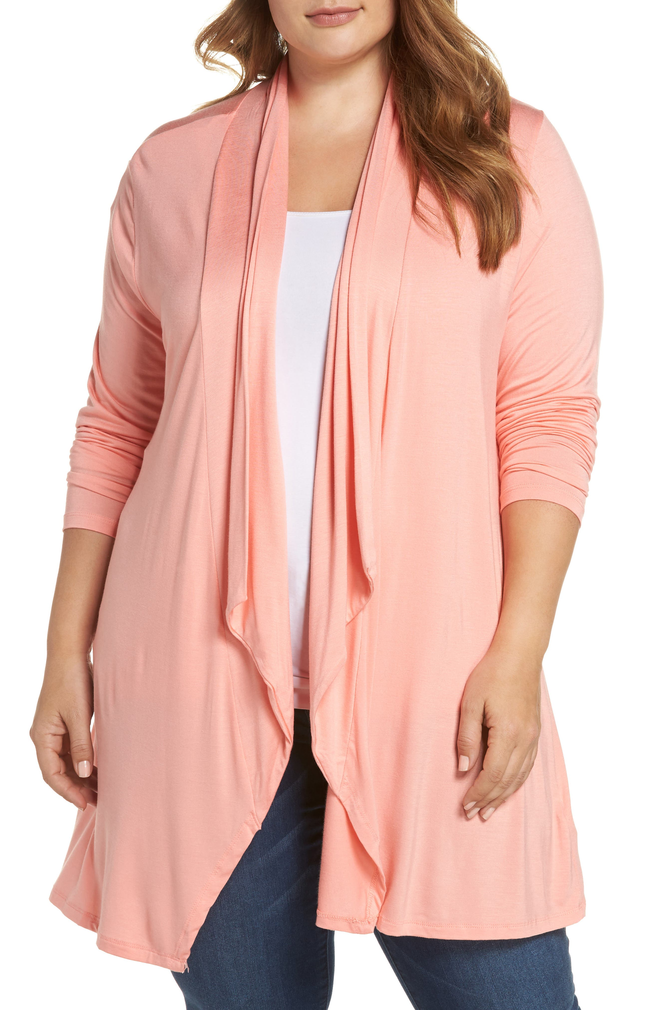 Waterfall Drape Front Cardigan,                         Main,                         color, Shrimp Cocktail