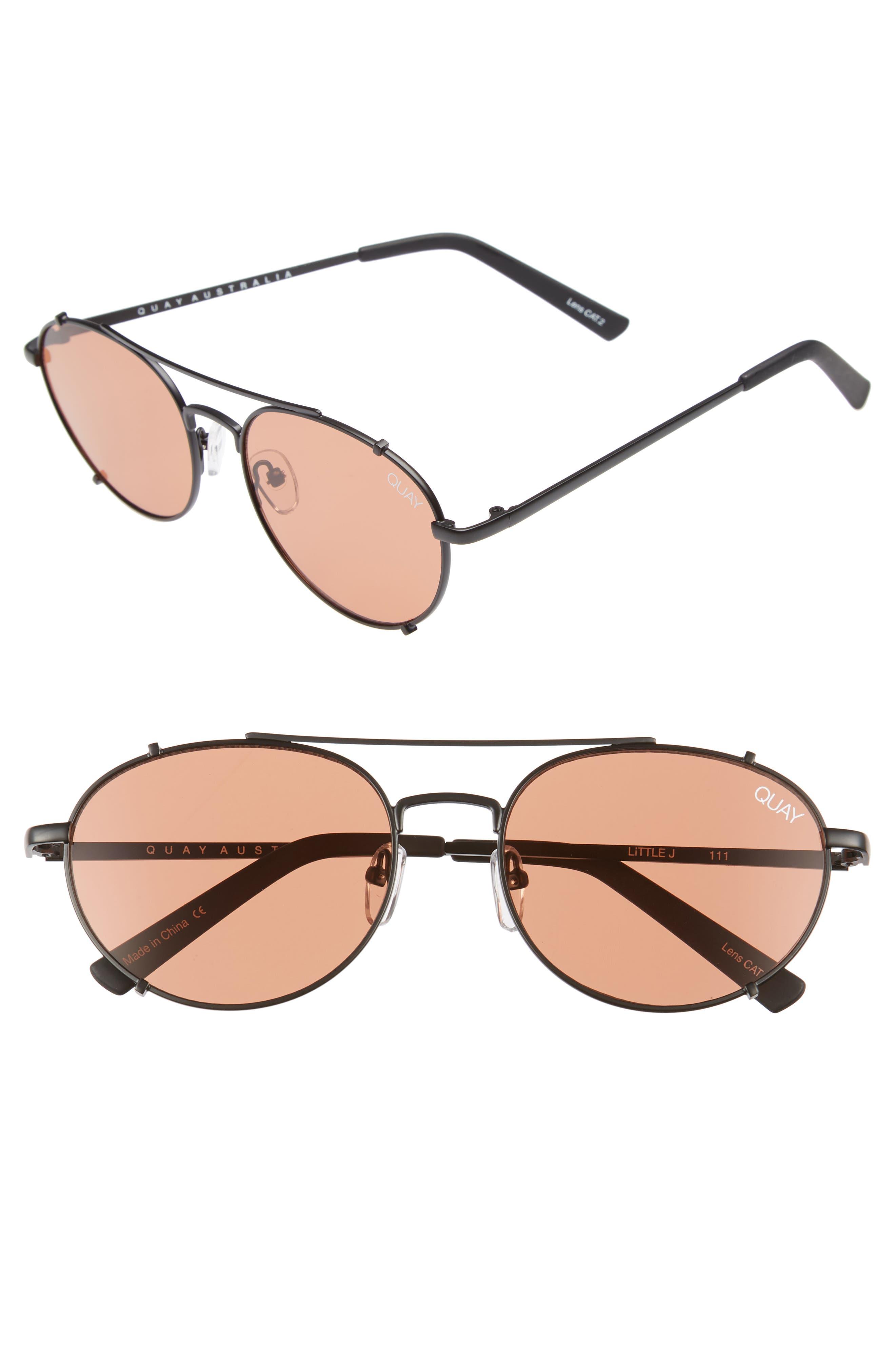 Little J 55mm Aviator Sunglasses,                         Main,                         color, Black/ Peach
