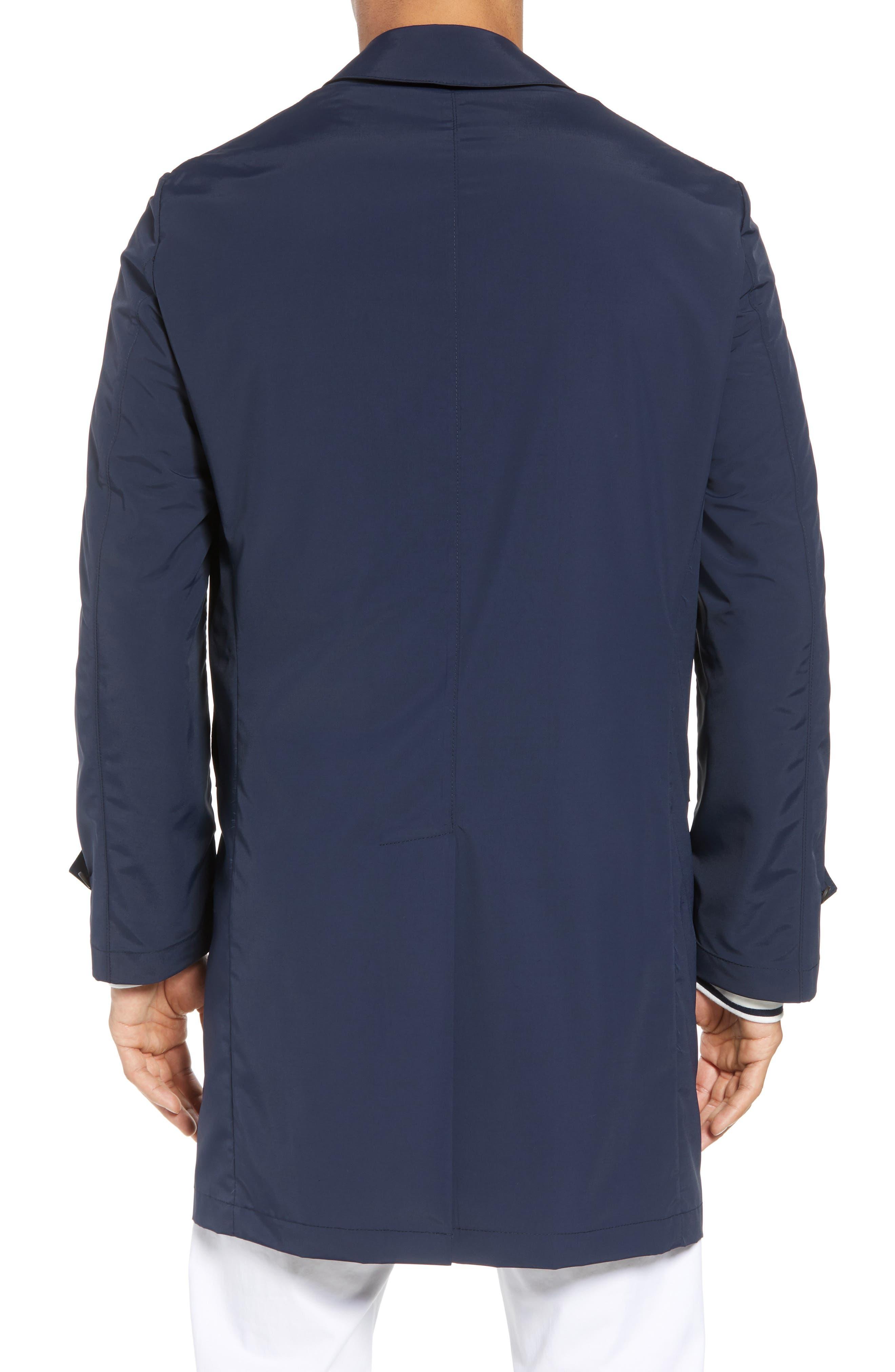 Shell Wool Blend Rain Coat,                             Alternate thumbnail 2, color,                             Navy