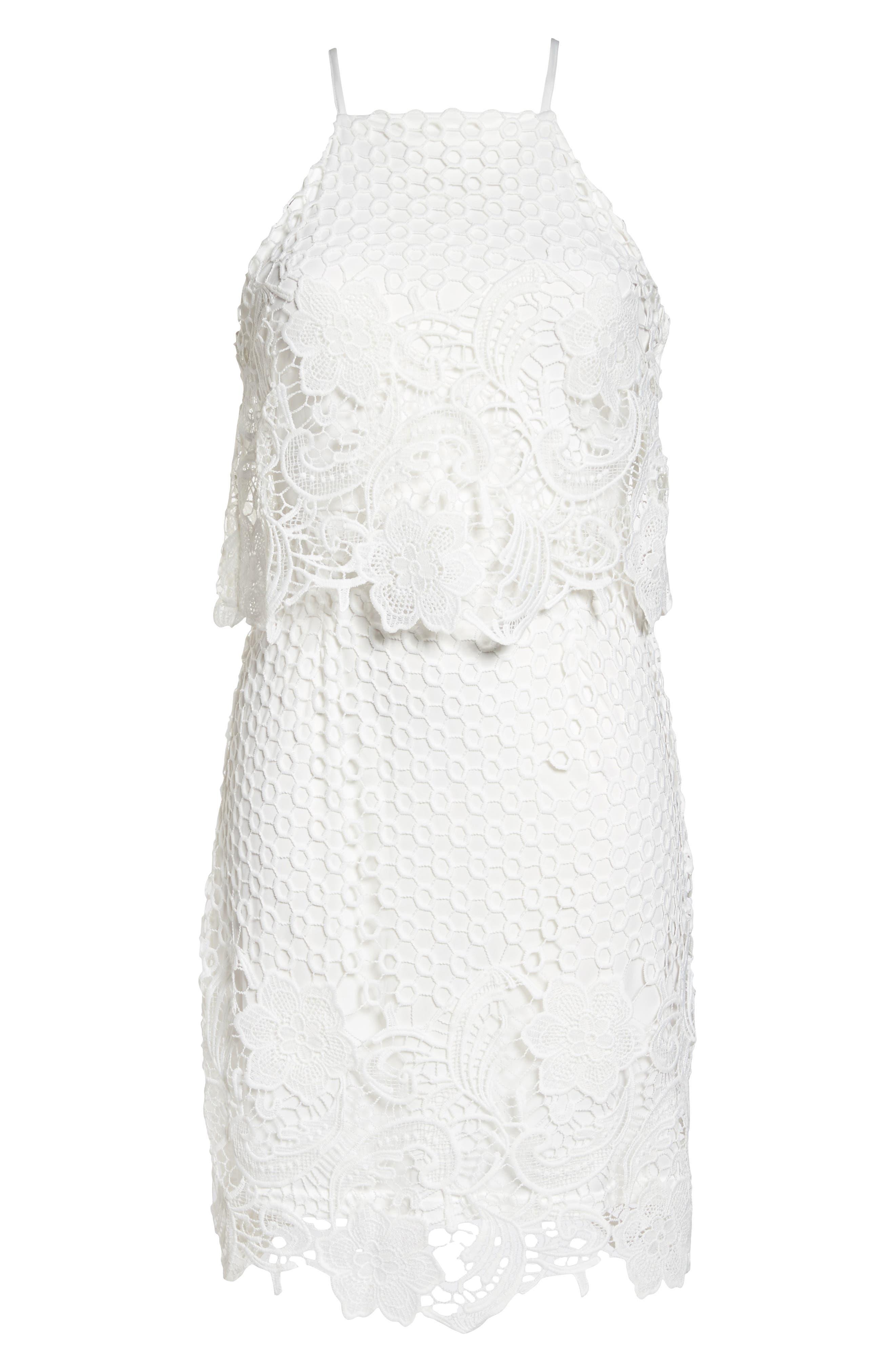 Bryn Lace Halter Dress,                             Alternate thumbnail 7, color,                             White