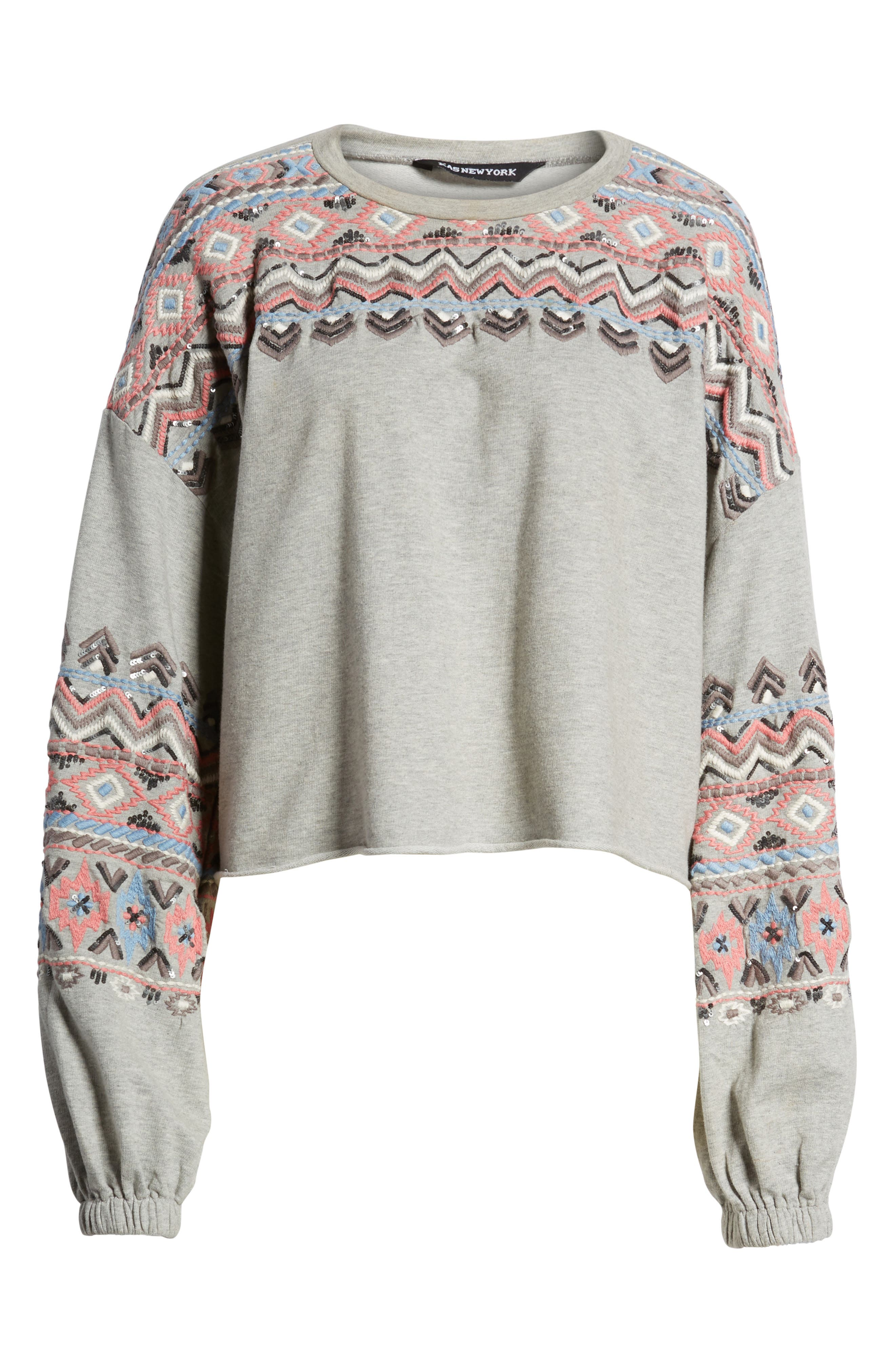 Embroidered Beaded Sweatshirt,                             Alternate thumbnail 7, color,                             Grey