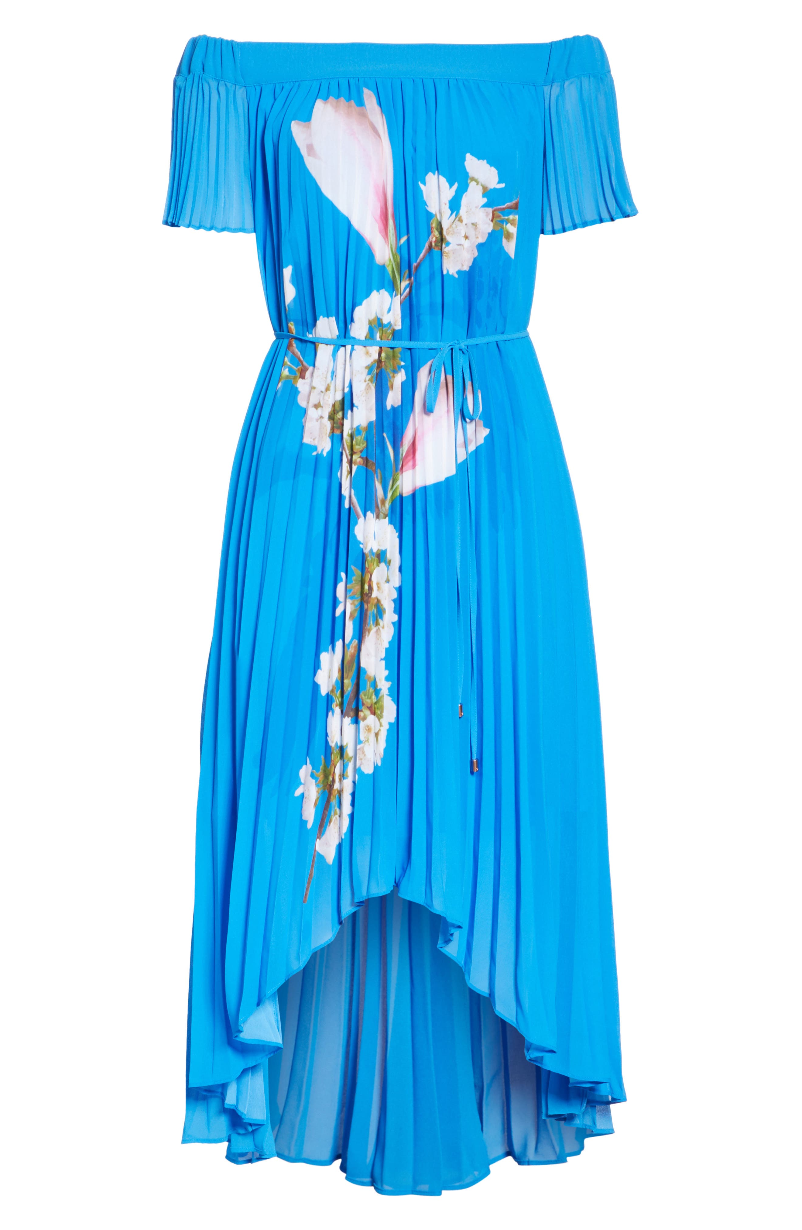 Harmony Pleat High/Low Dress,                             Alternate thumbnail 6, color,                             Bright Blue