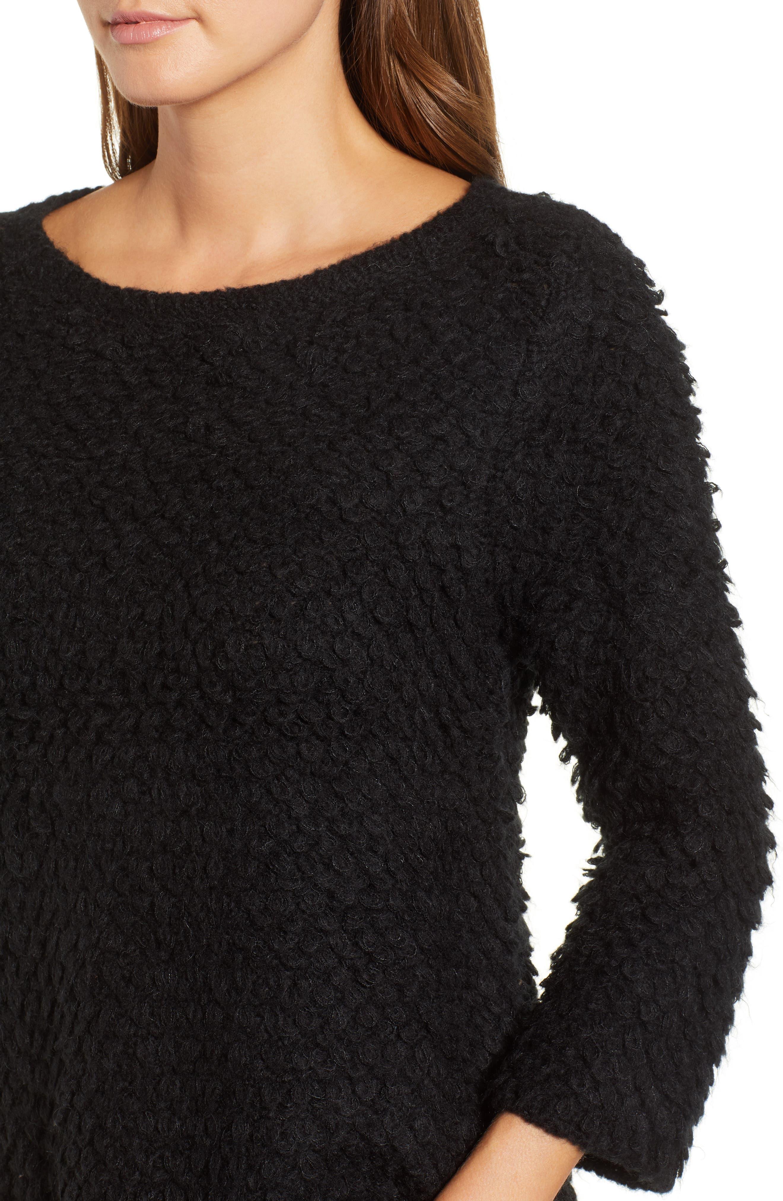 Loop Stitch Crewneck Sweater,                             Alternate thumbnail 4, color,                             Black