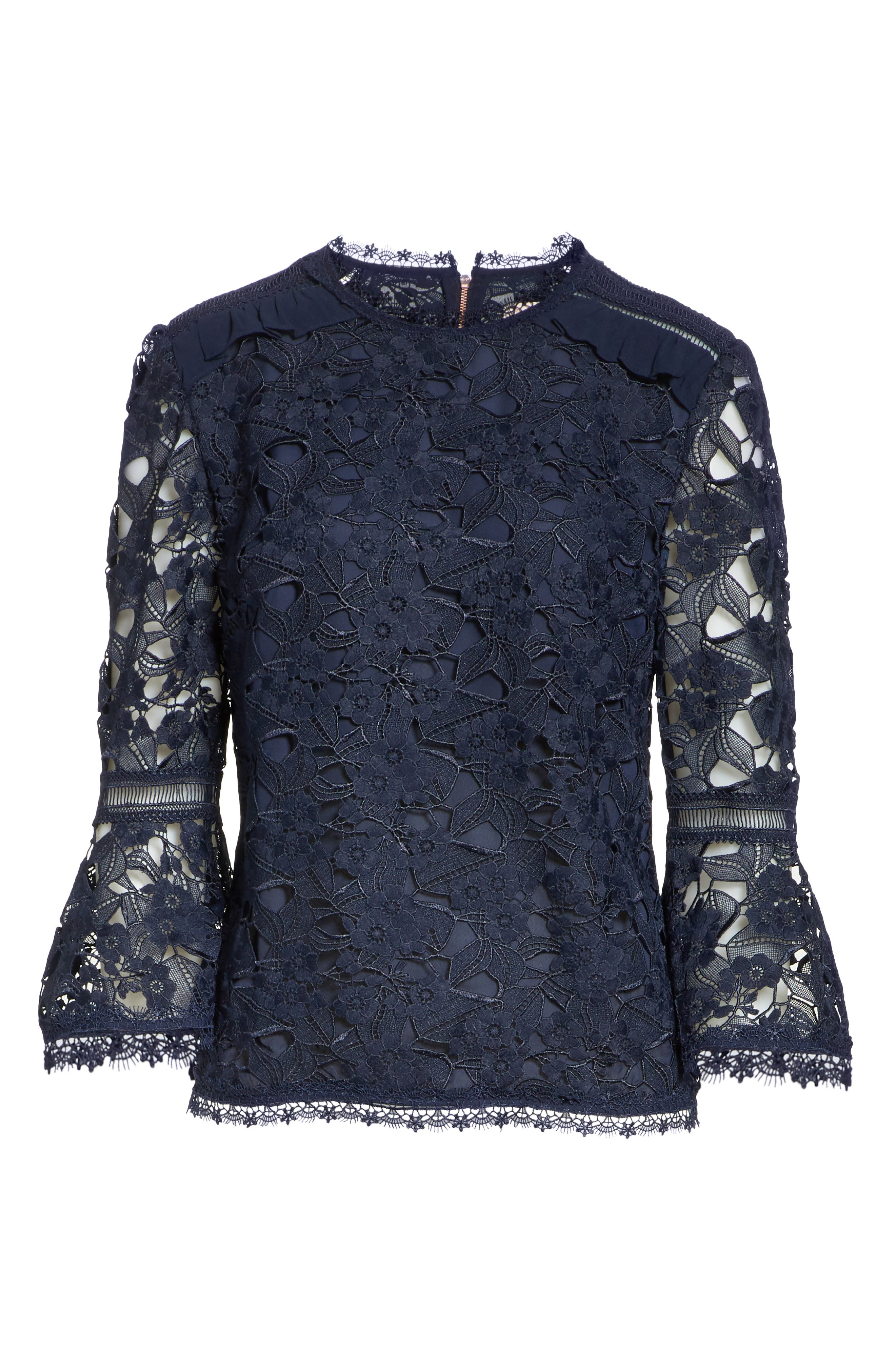 Flare Cuff Lace Top,                             Alternate thumbnail 6, color,                             Navy