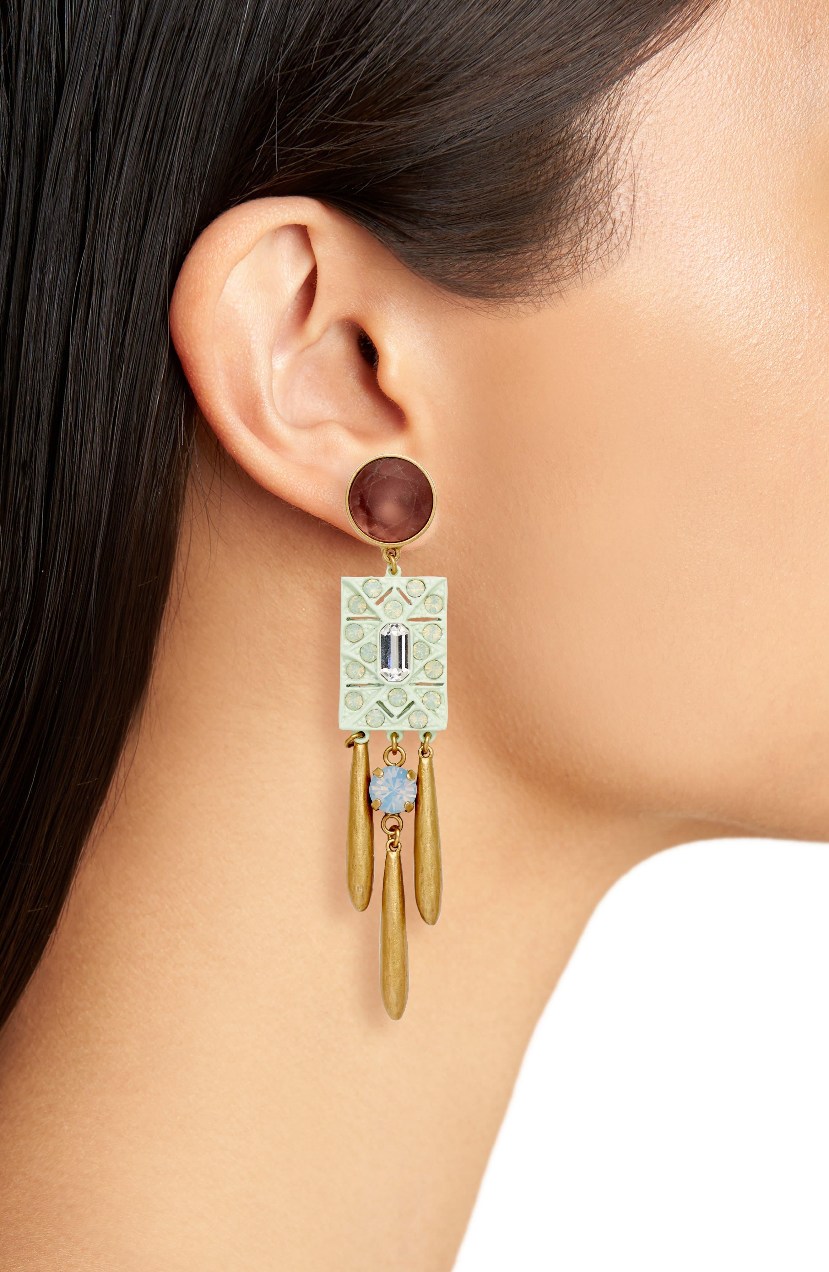 Ophelia Statement Earrings,                             Alternate thumbnail 2, color,                             Purple Multi