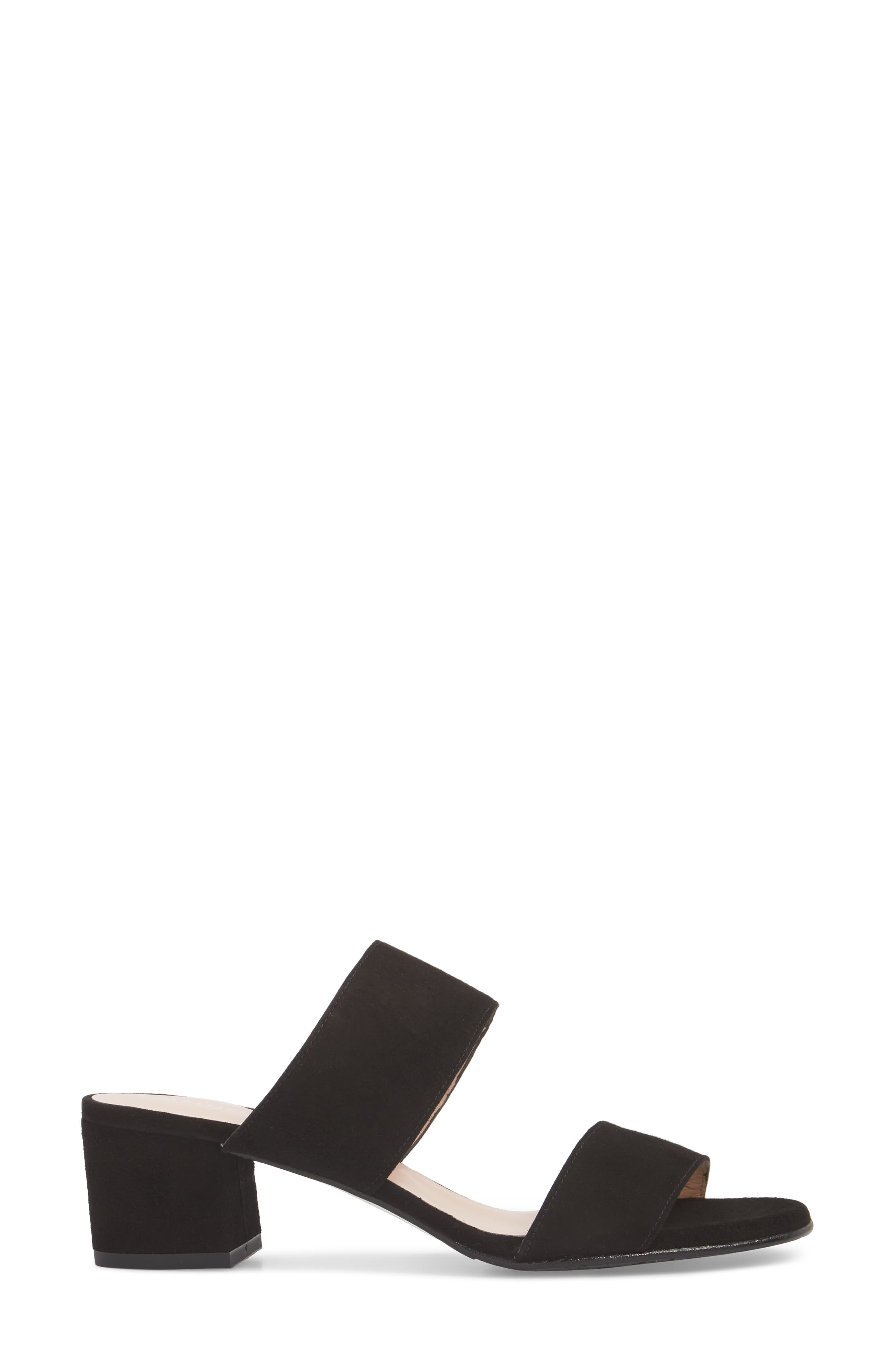 Lola Slide Sandal,                             Alternate thumbnail 3, color,                             Black Suede