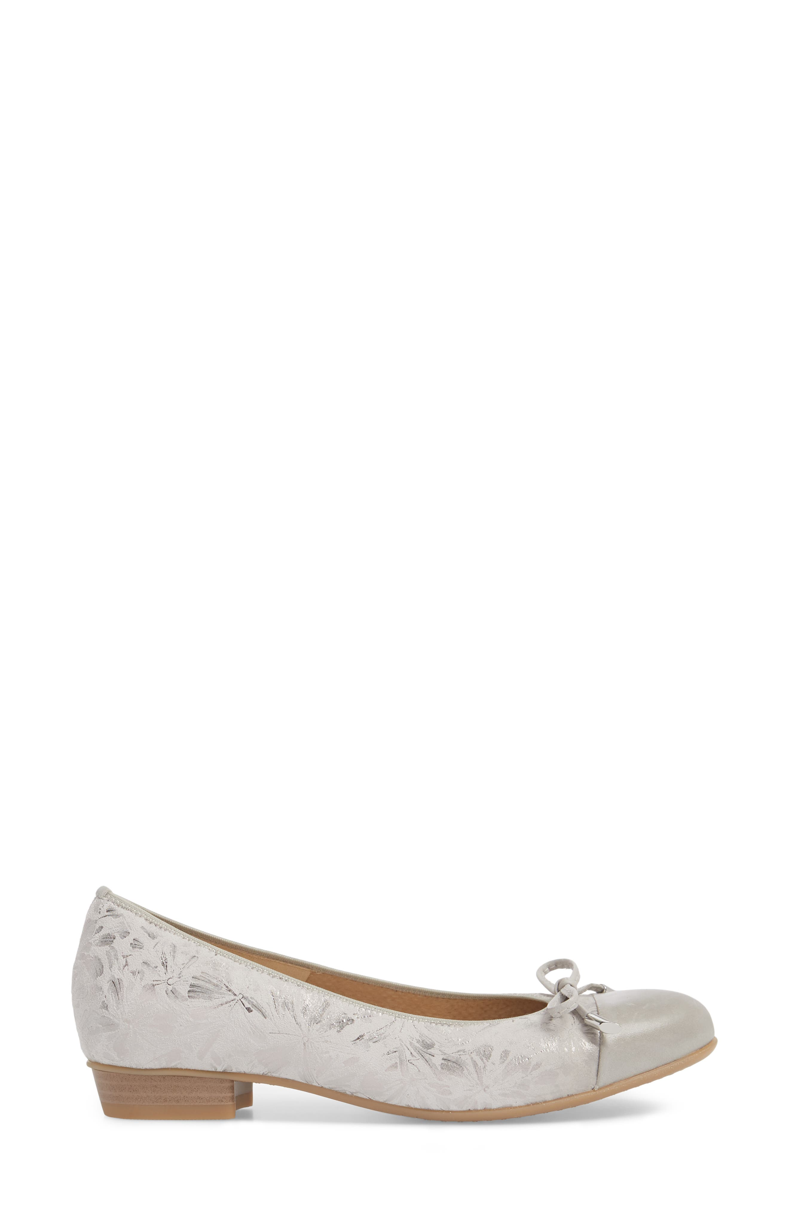'Betty' Cap Toe Flat,                             Alternate thumbnail 3, color,                             Silver Leather