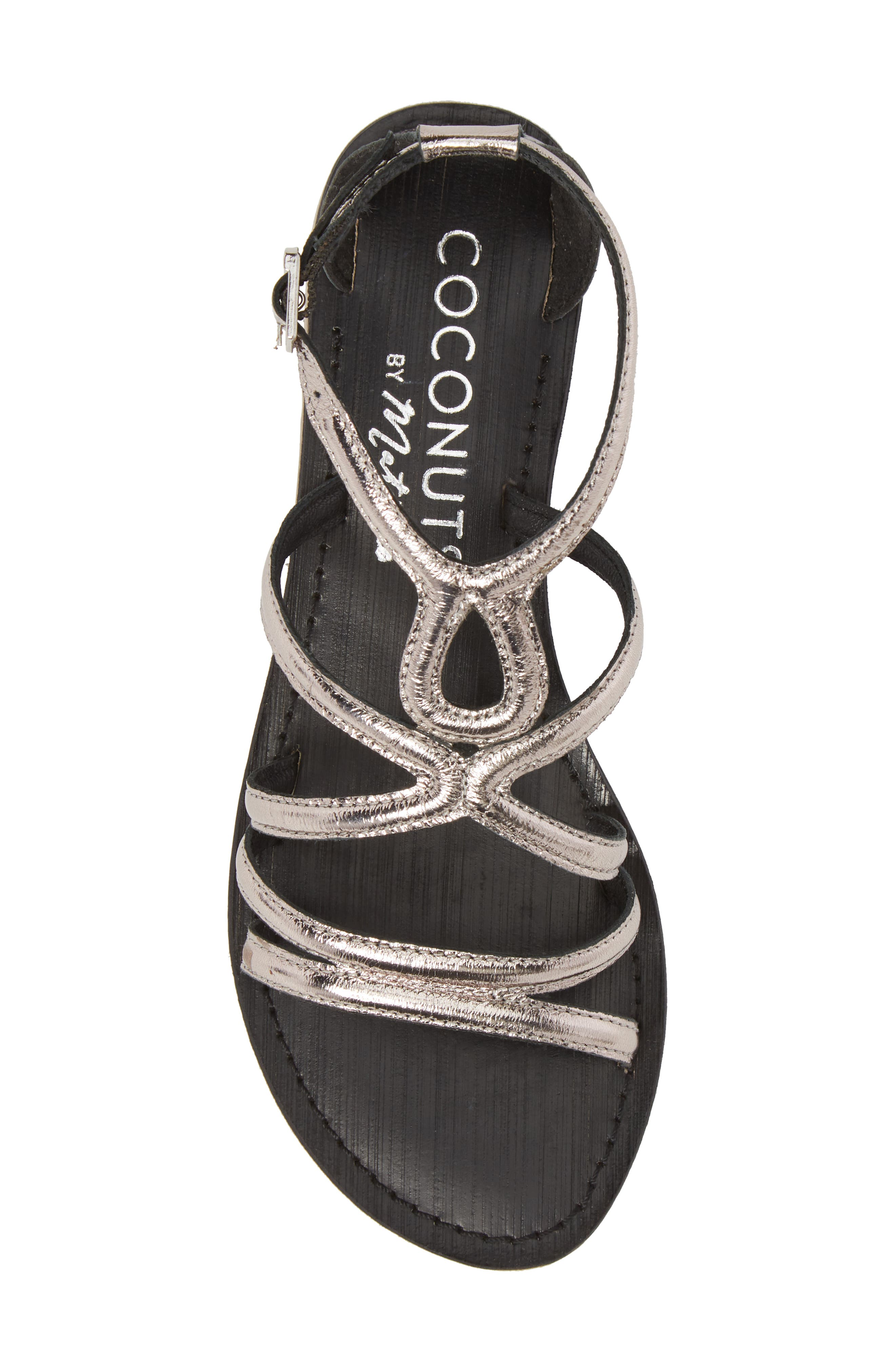 Palm Beach Metallic Sandal,                             Alternate thumbnail 5, color,                             Pewter Leather