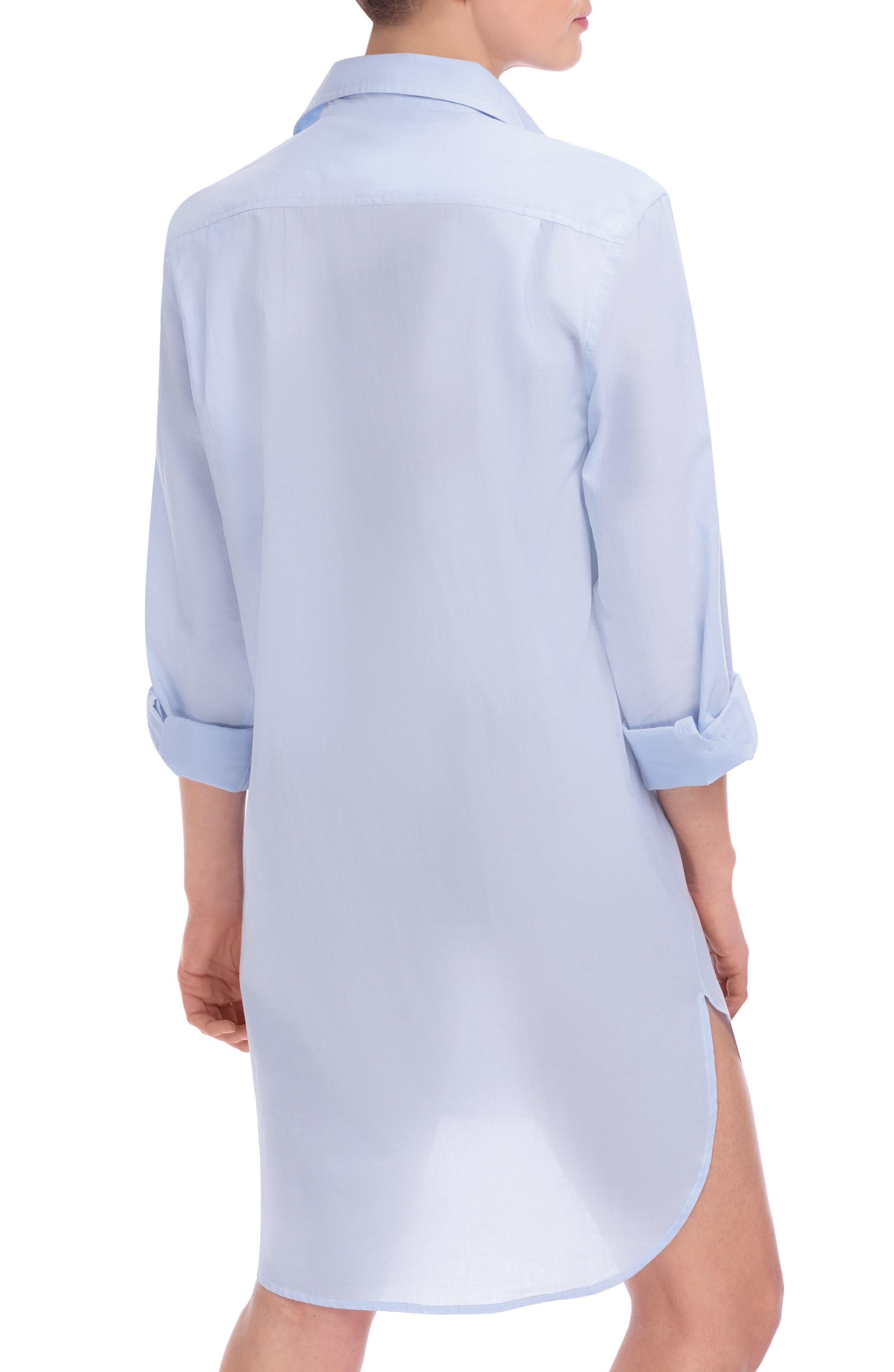 Stripe Oversize Cotton Voile Sleep Shirt,                             Alternate thumbnail 2, color,                             Soft Blue