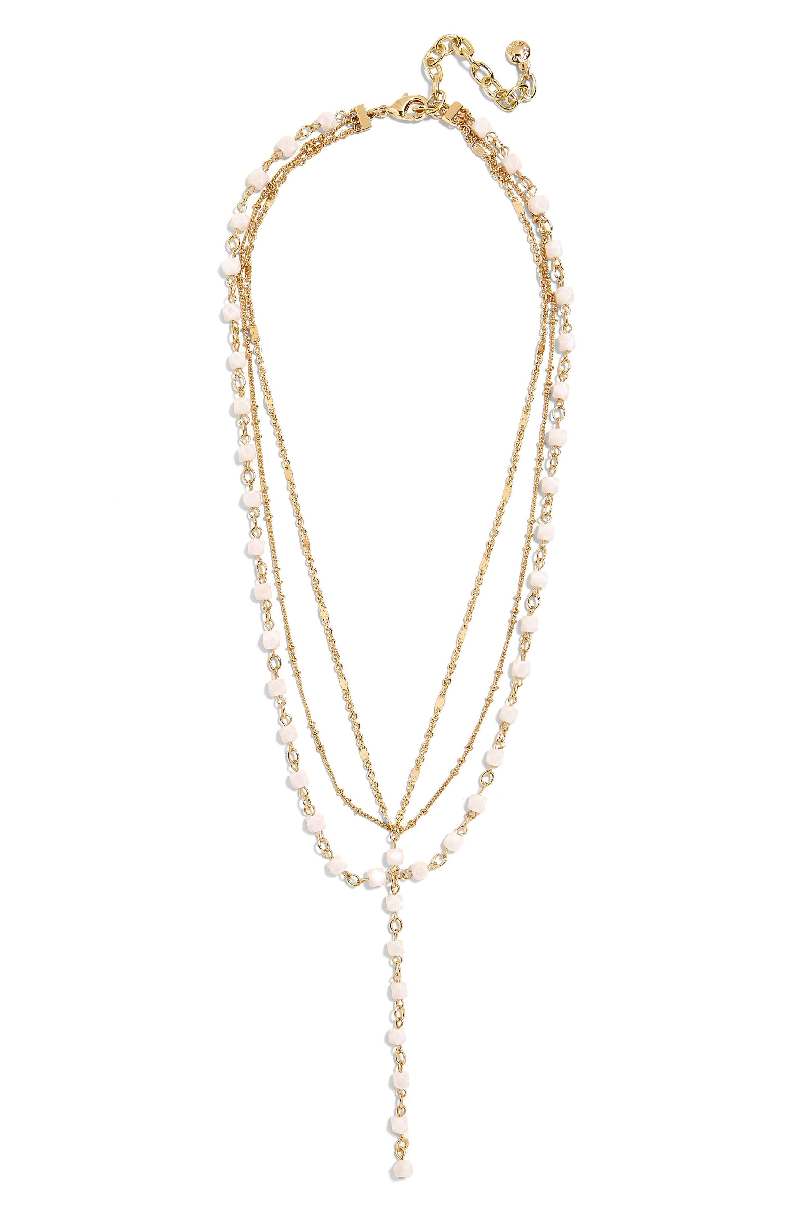 Odelia Layered Y-Chain Necklace,                         Main,                         color, Blush