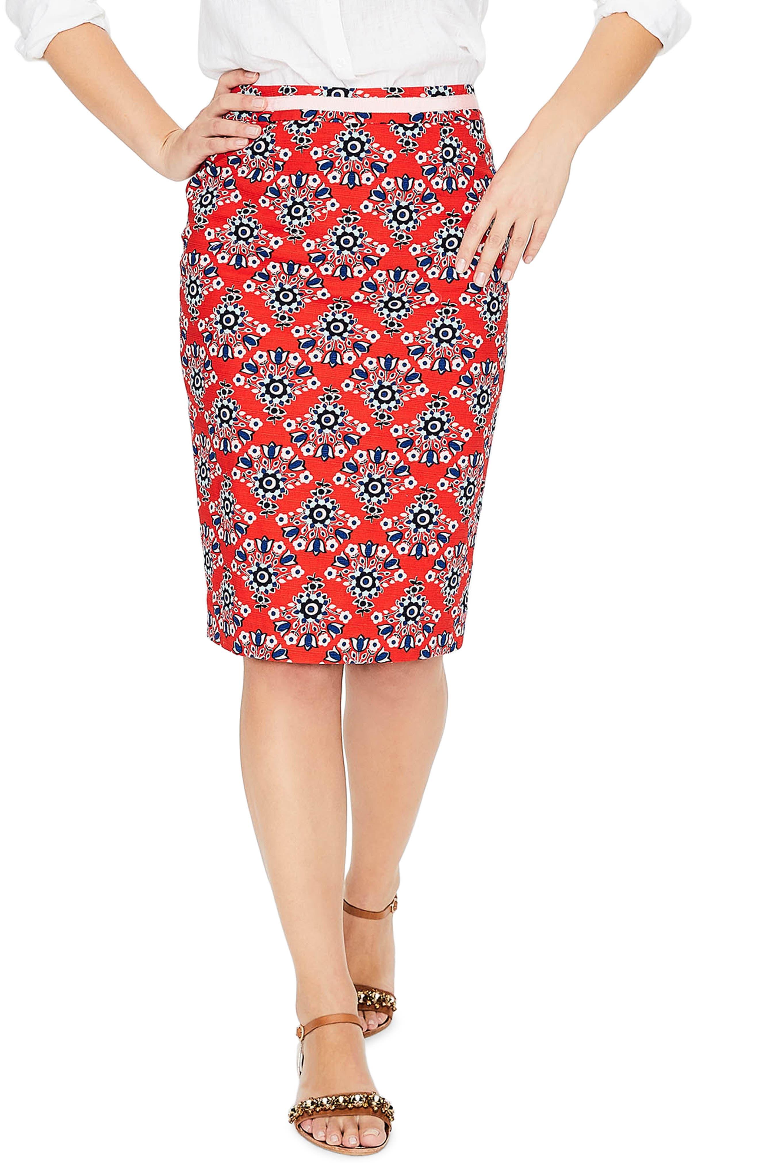 Boden Print Pencil Skirt