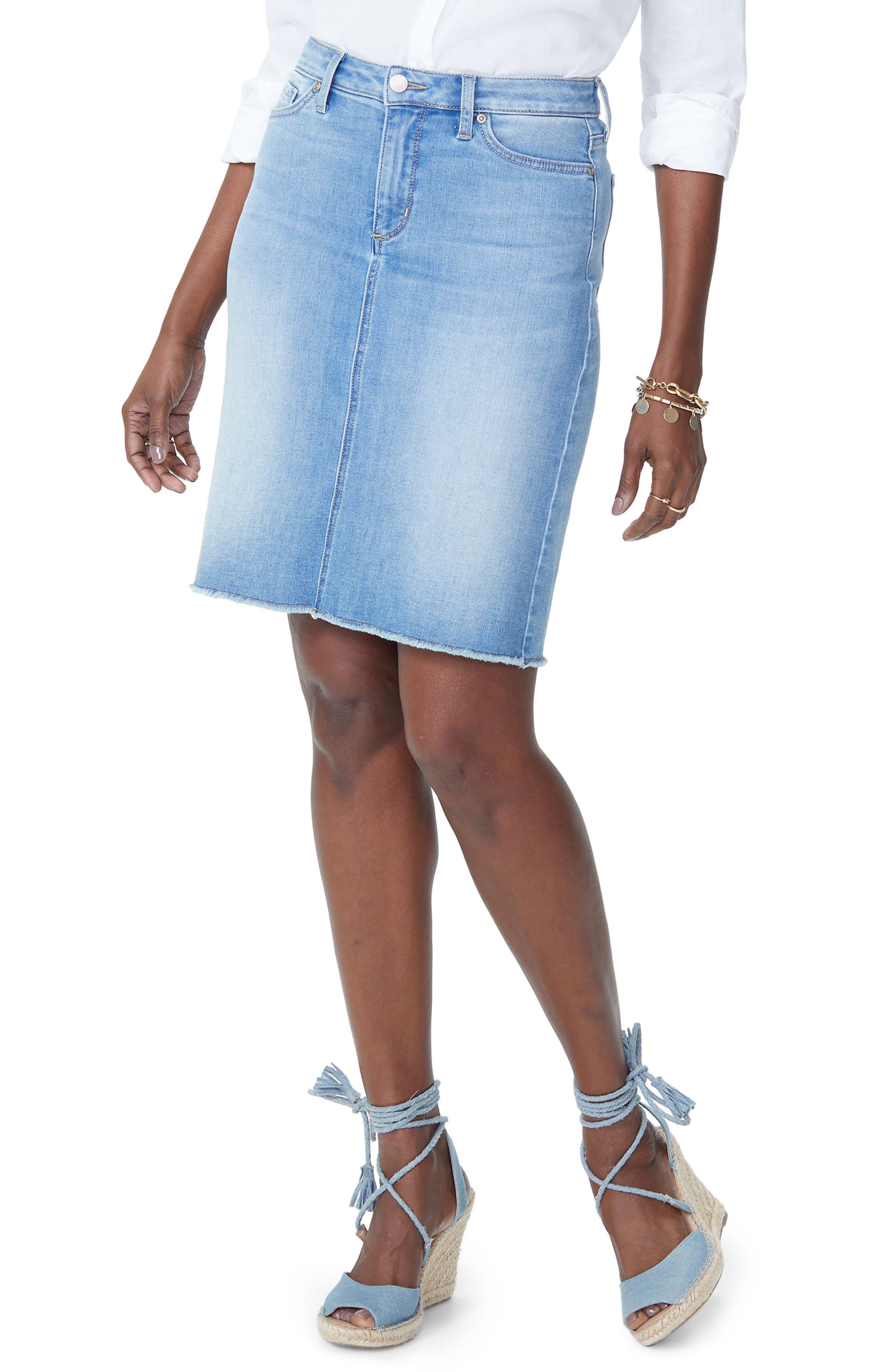 Frayed Hem Denim Skirt,                             Main thumbnail 1, color,                             Dream State