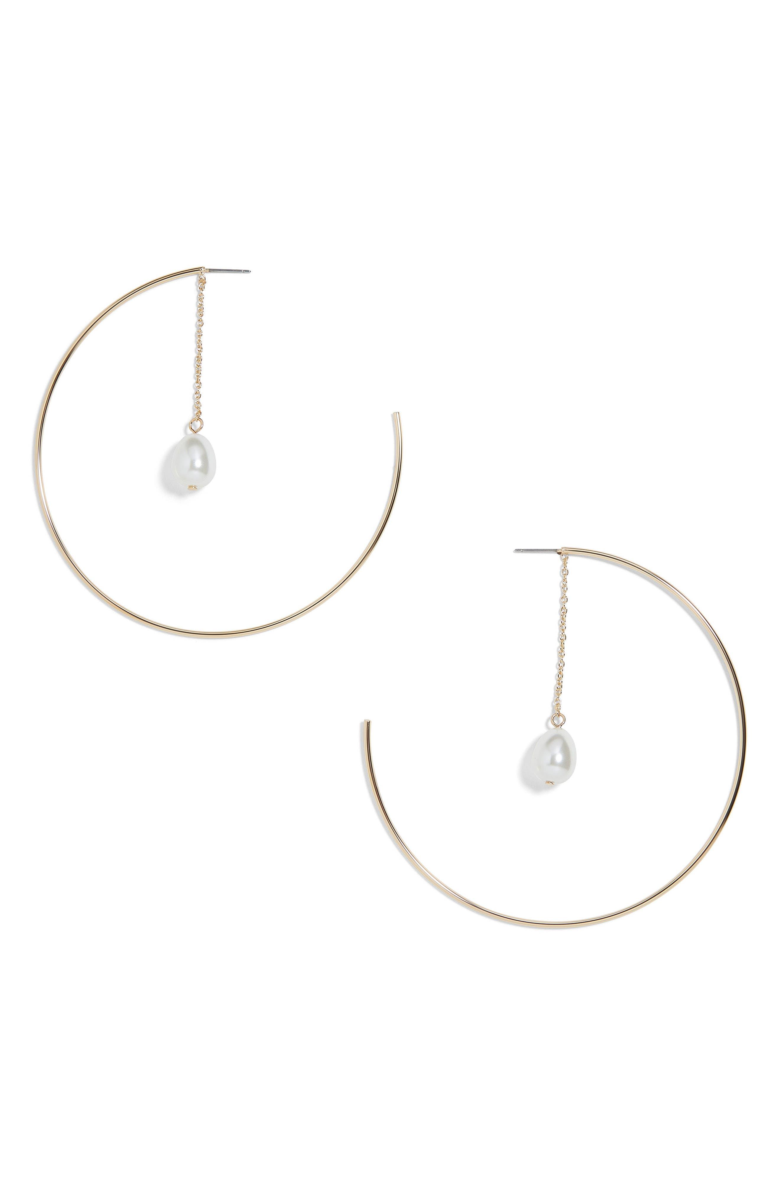 Ashanti Imitation Pearl Hoop Earrings,                             Main thumbnail 1, color,                             Gold