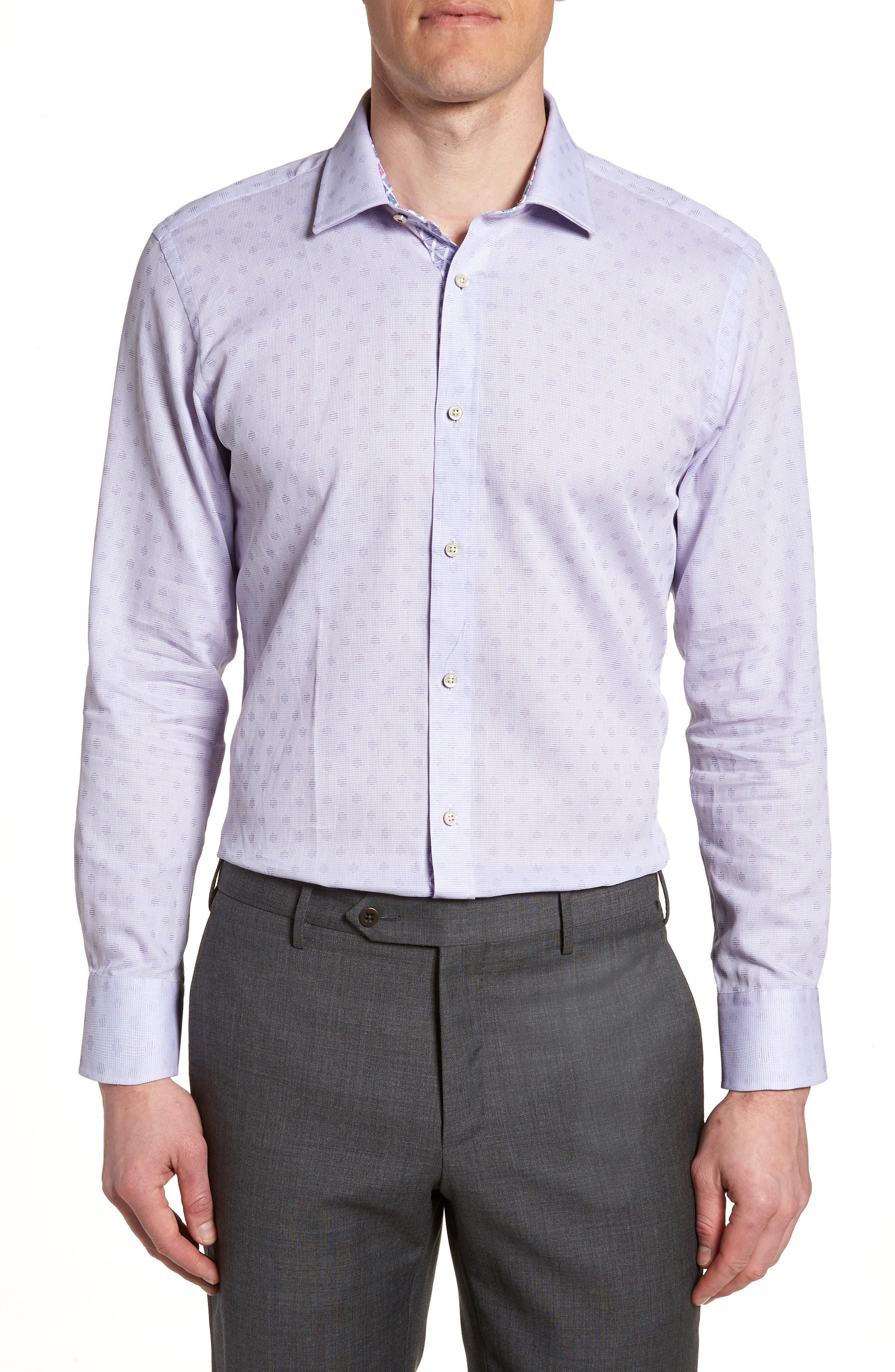 Racking Trim Fit Dot Dress Shirt,                             Main thumbnail 1, color,                             Purple