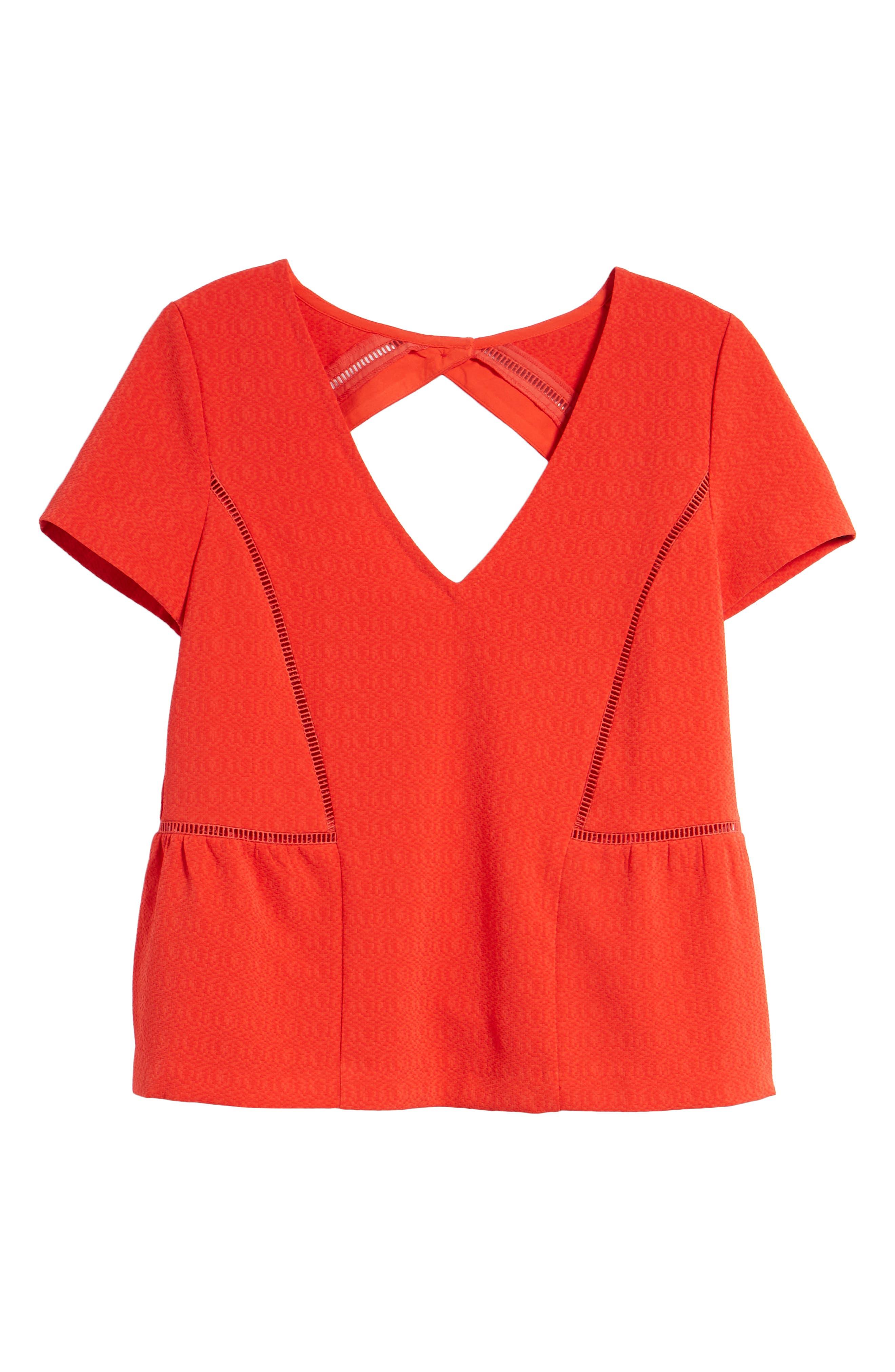 Amanda Ladder Stitch Blouse,                             Alternate thumbnail 6, color,                             Coral Red