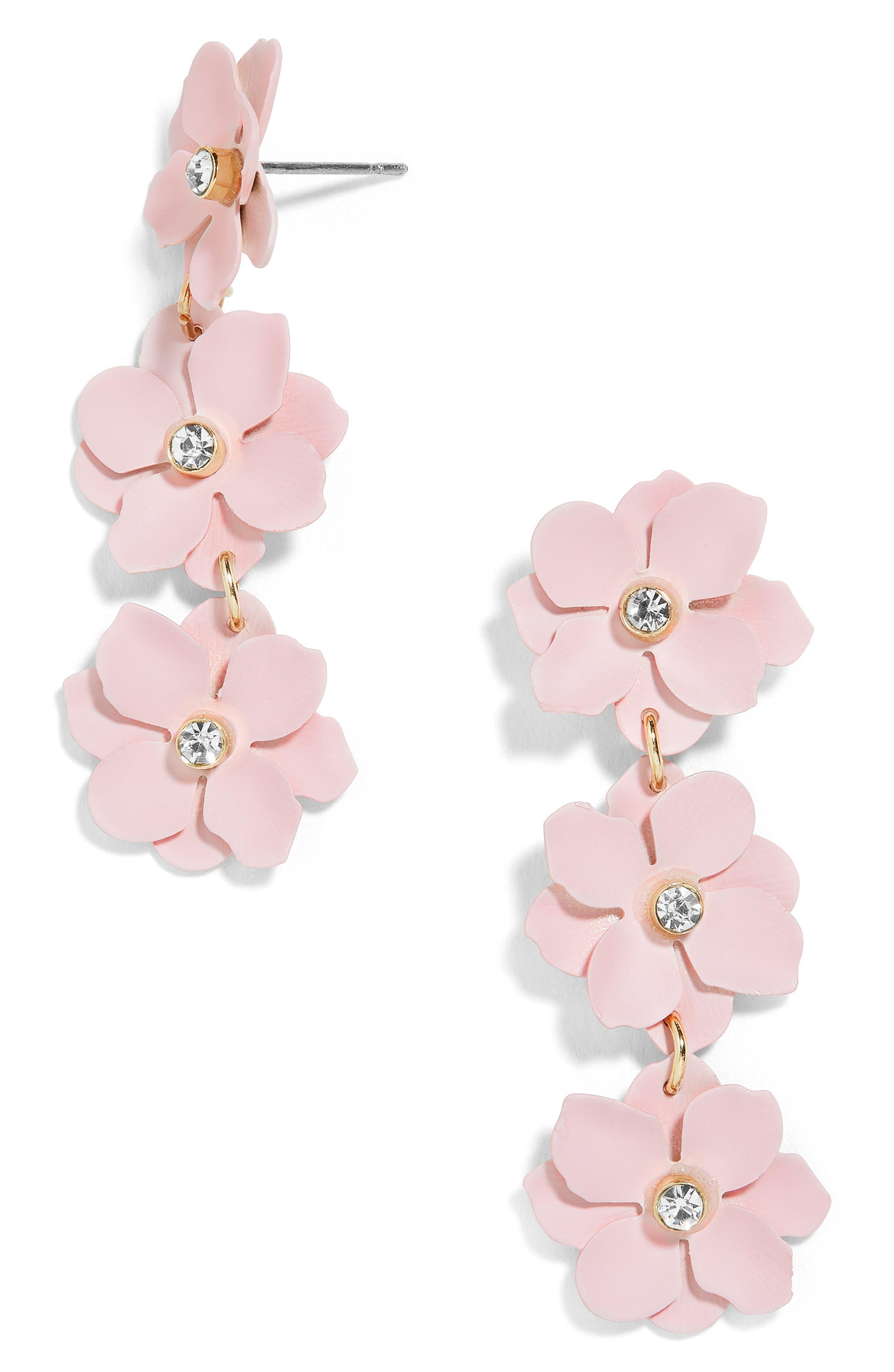 Kimi Flower Drop Earrings,                             Main thumbnail 1, color,                             Pink