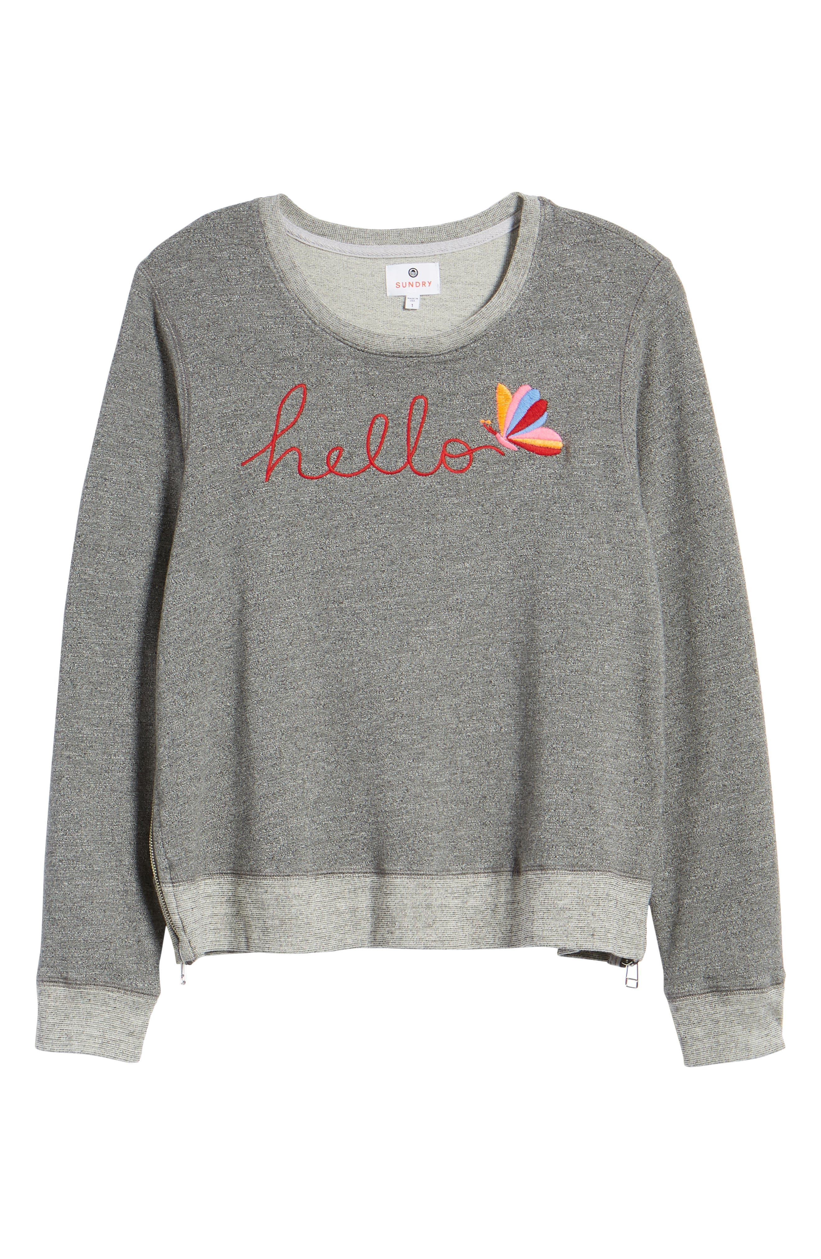 Hello Embroidered Double Zip Pullover,                             Alternate thumbnail 7, color,                             Heather Grey