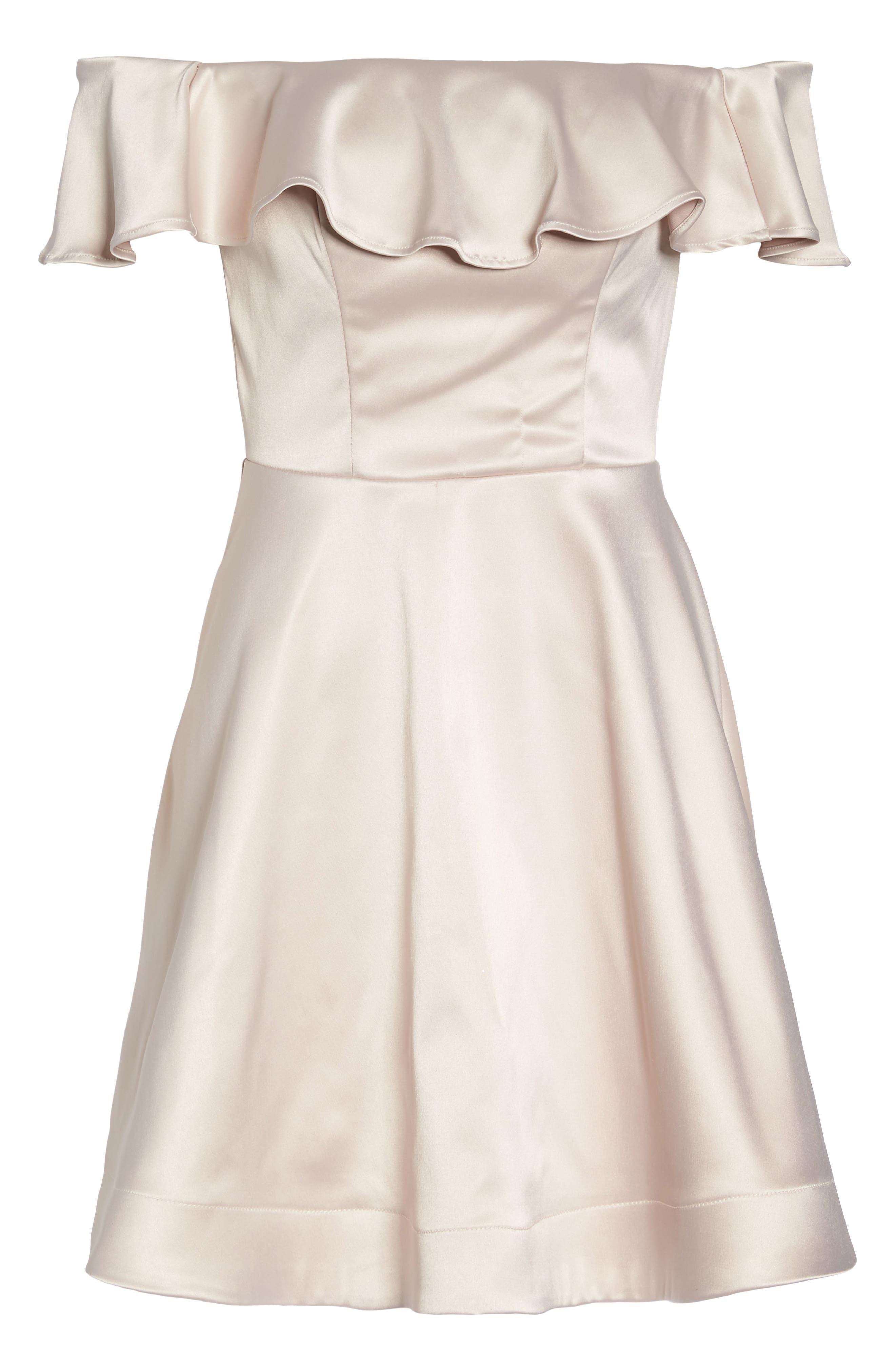 Off the Shoulder Satin Fit & Flare Dress,                             Alternate thumbnail 6, color,                             Blush