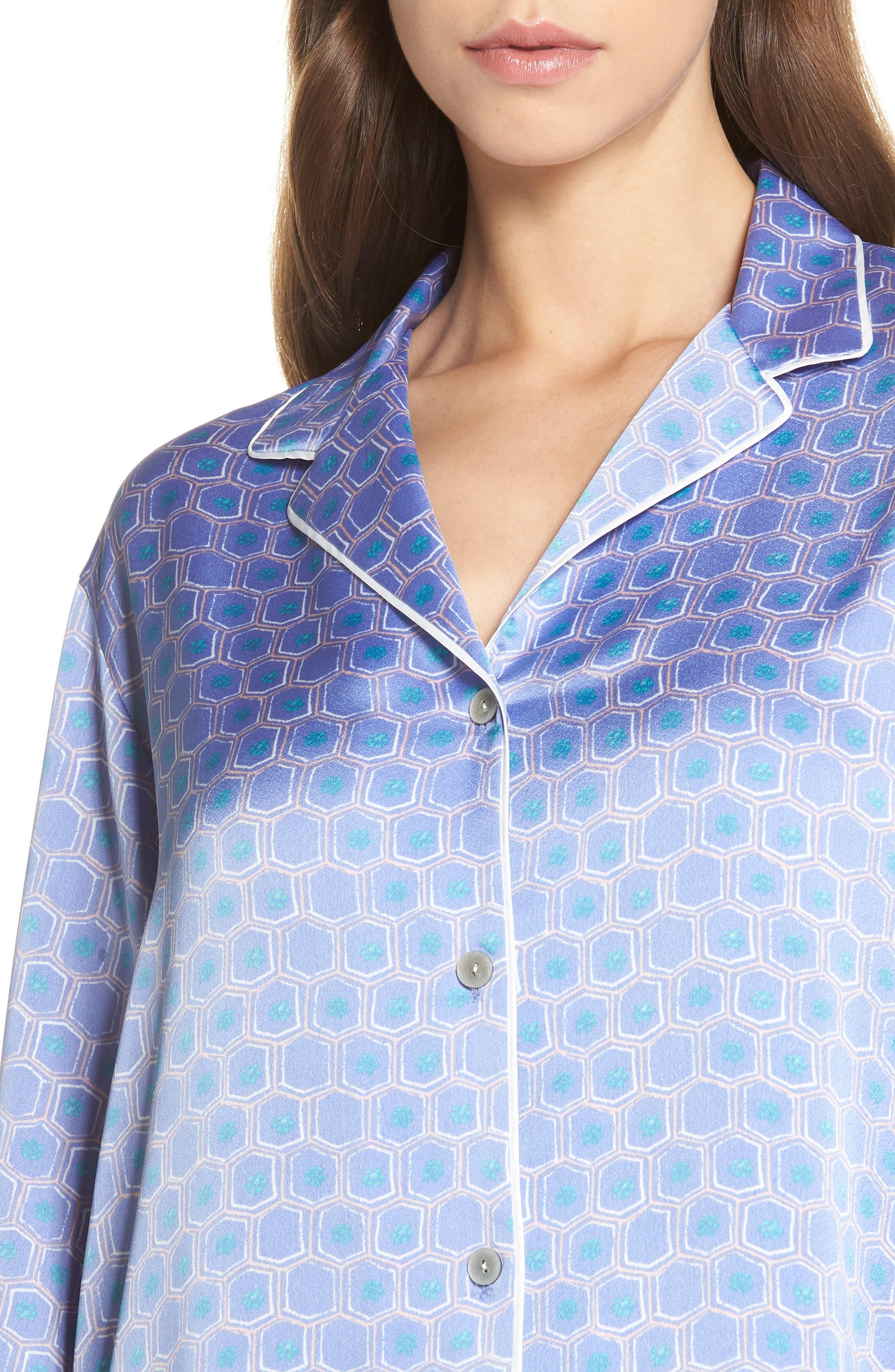 Honeycomb Short Pajamas,                             Alternate thumbnail 4, color,                             Wedgewood