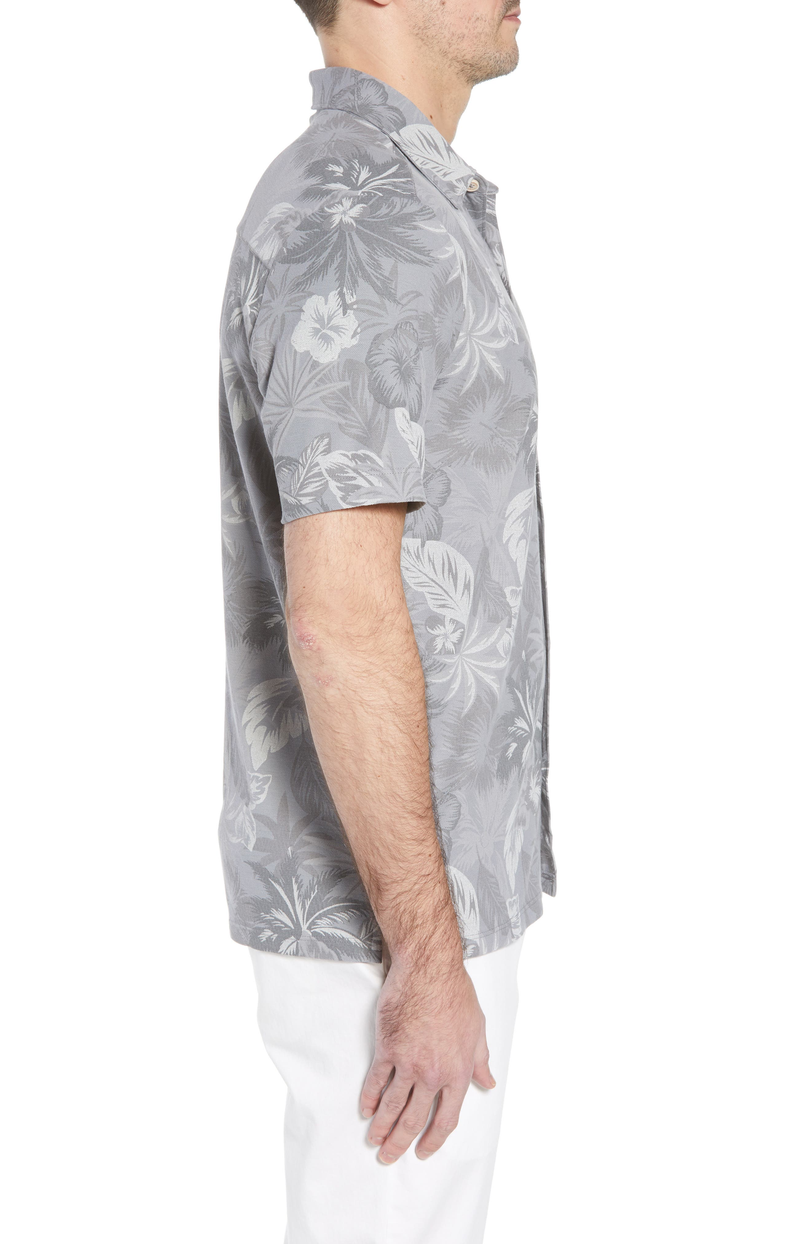 Fuego Floral Camp Shirt,                             Alternate thumbnail 3, color,                             Iced Slate