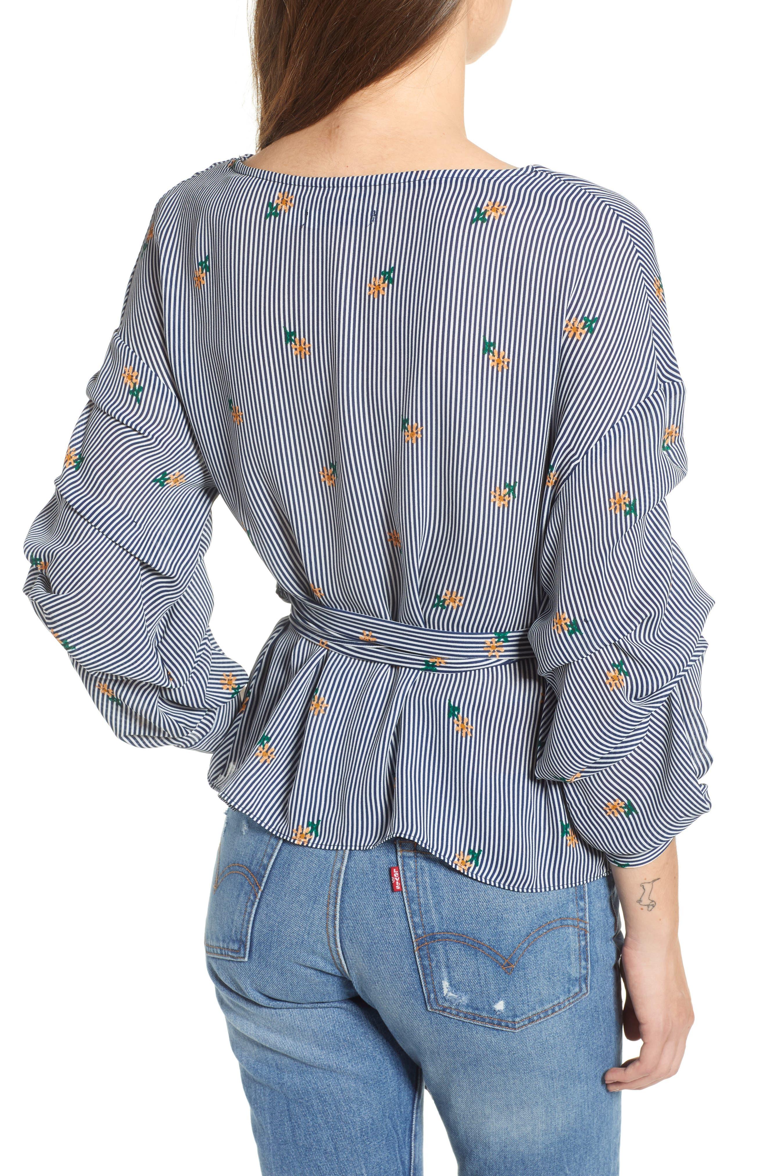 Bishop + Young Majorca Stripe Wrap Top,                             Alternate thumbnail 2, color,                             Majorca Stripe