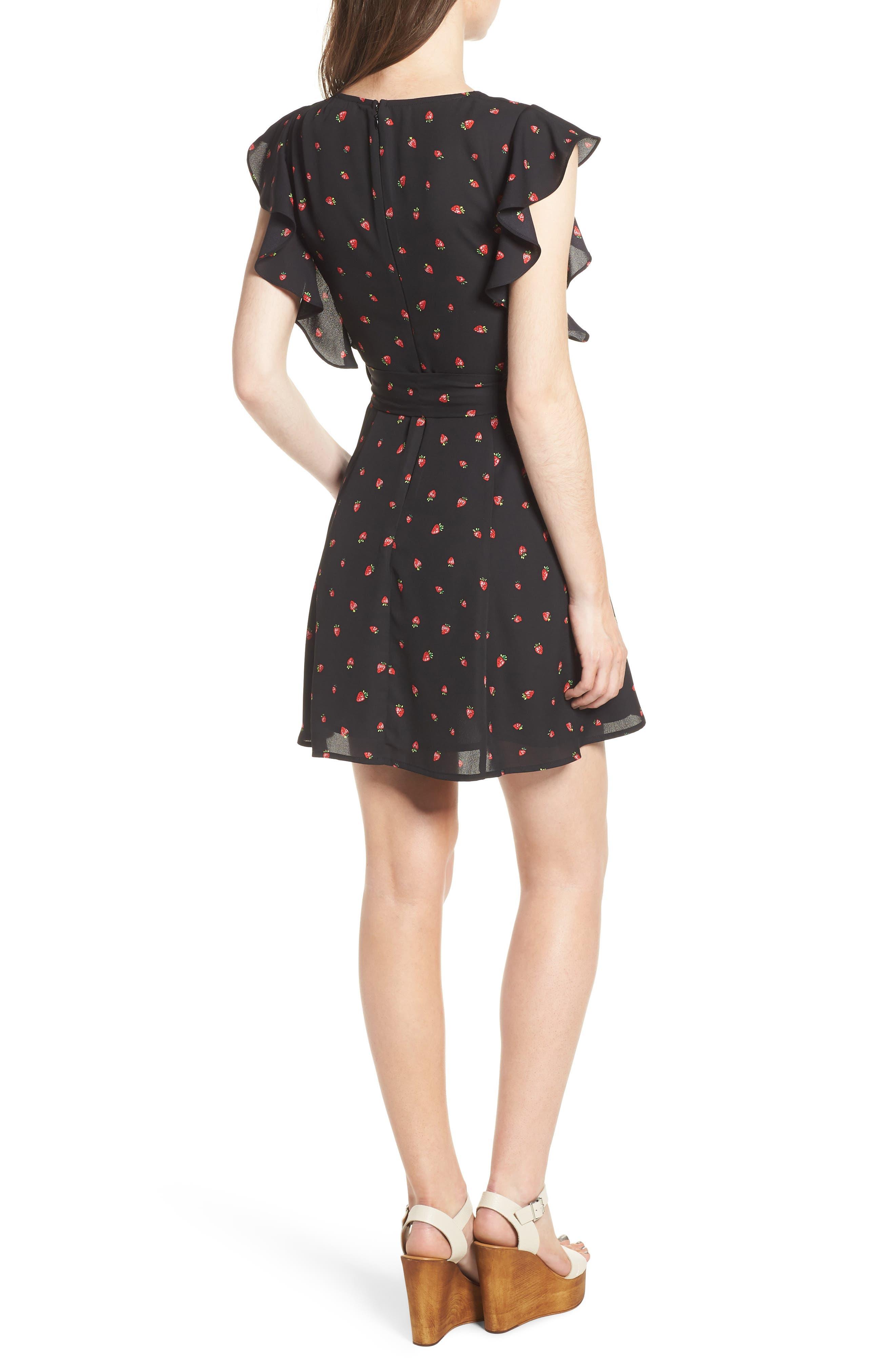Ruffle Sleeve Dress,                             Alternate thumbnail 2, color,                             Strawberry Print