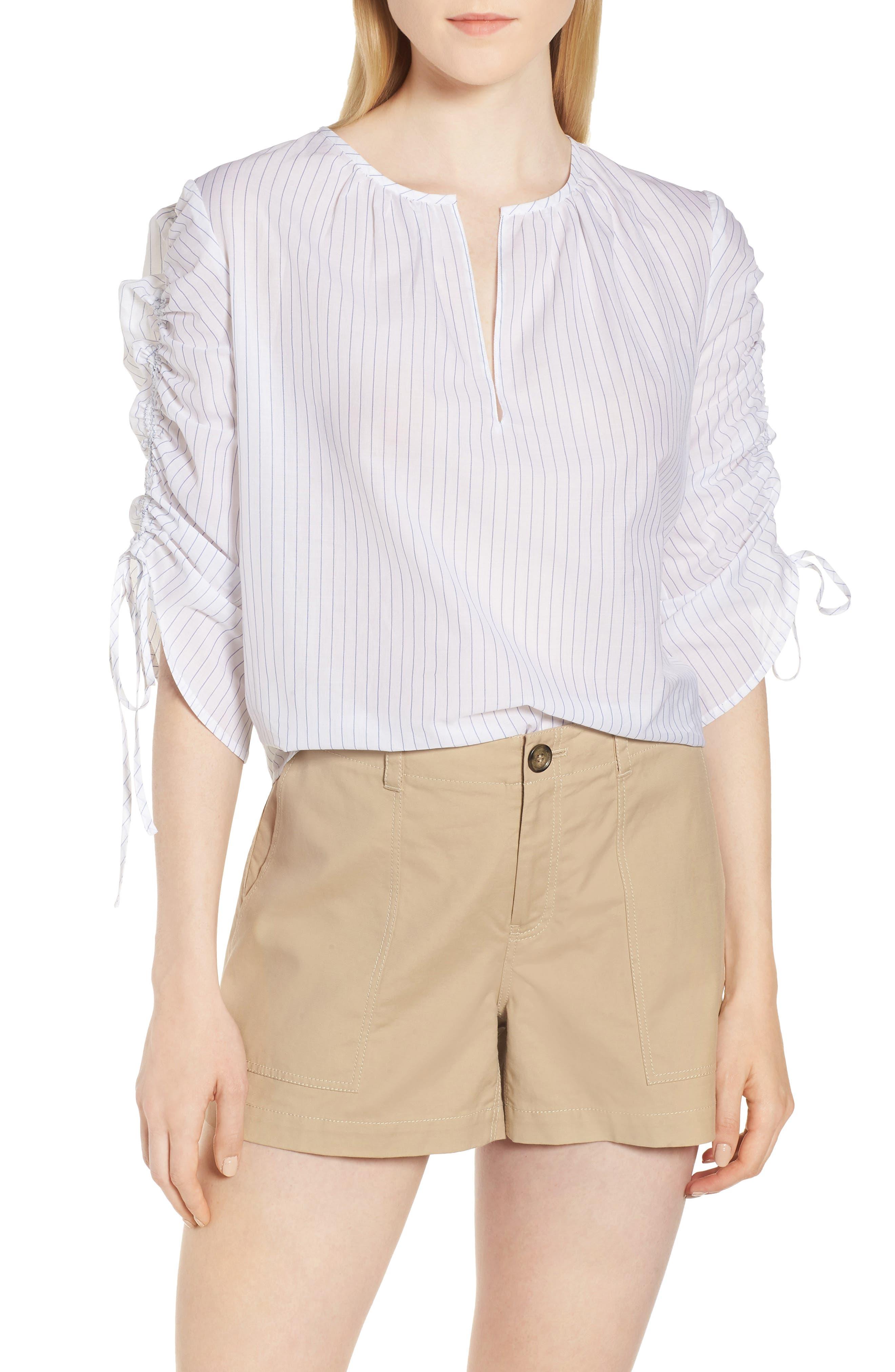 Nordstrom Signature Pull Tie Sleeve Stripe Cotton Blouse