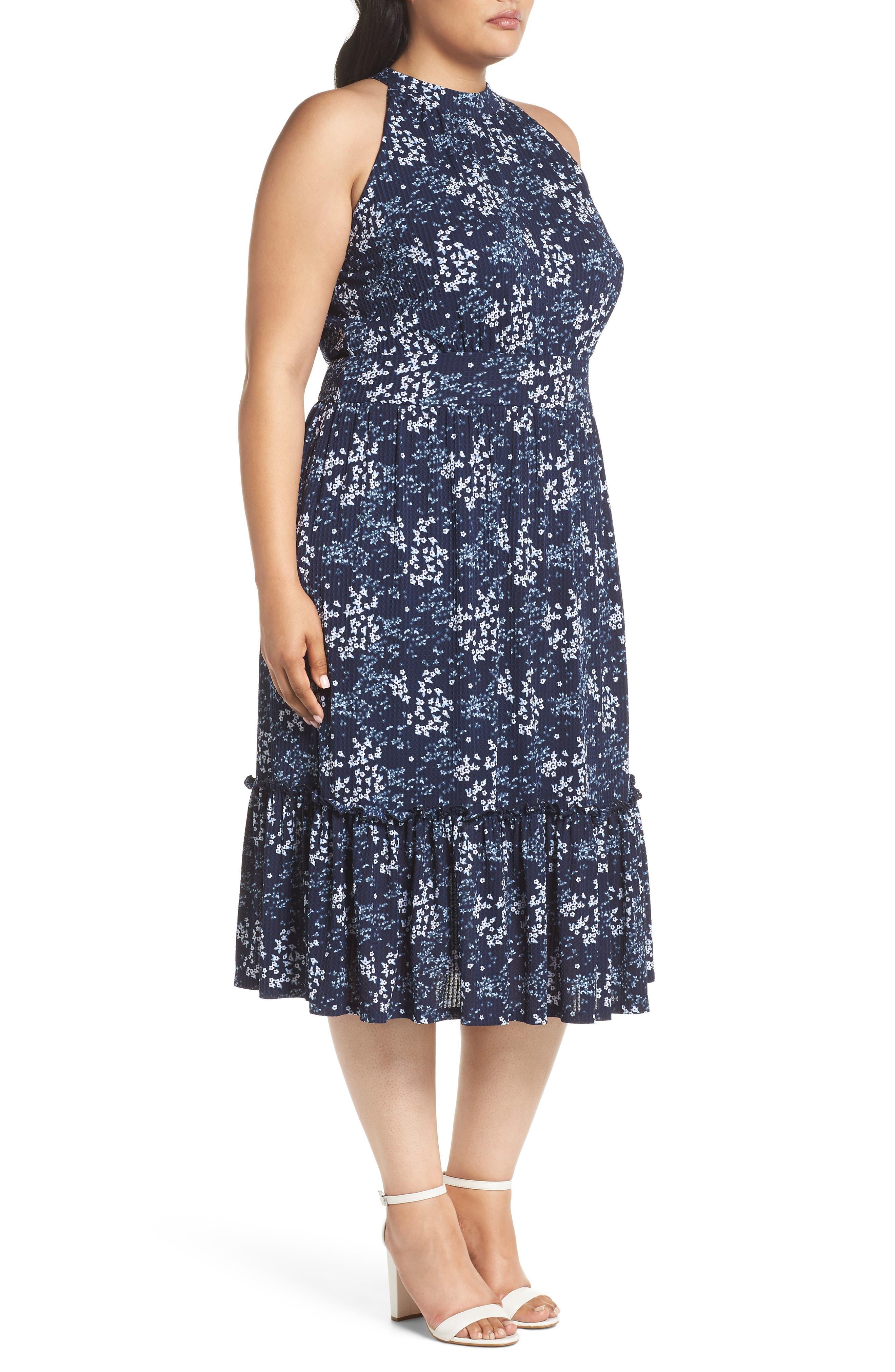 Floral Tiered Midi Halter Dress,                             Alternate thumbnail 3, color,                             True Navy/ Light Chambray