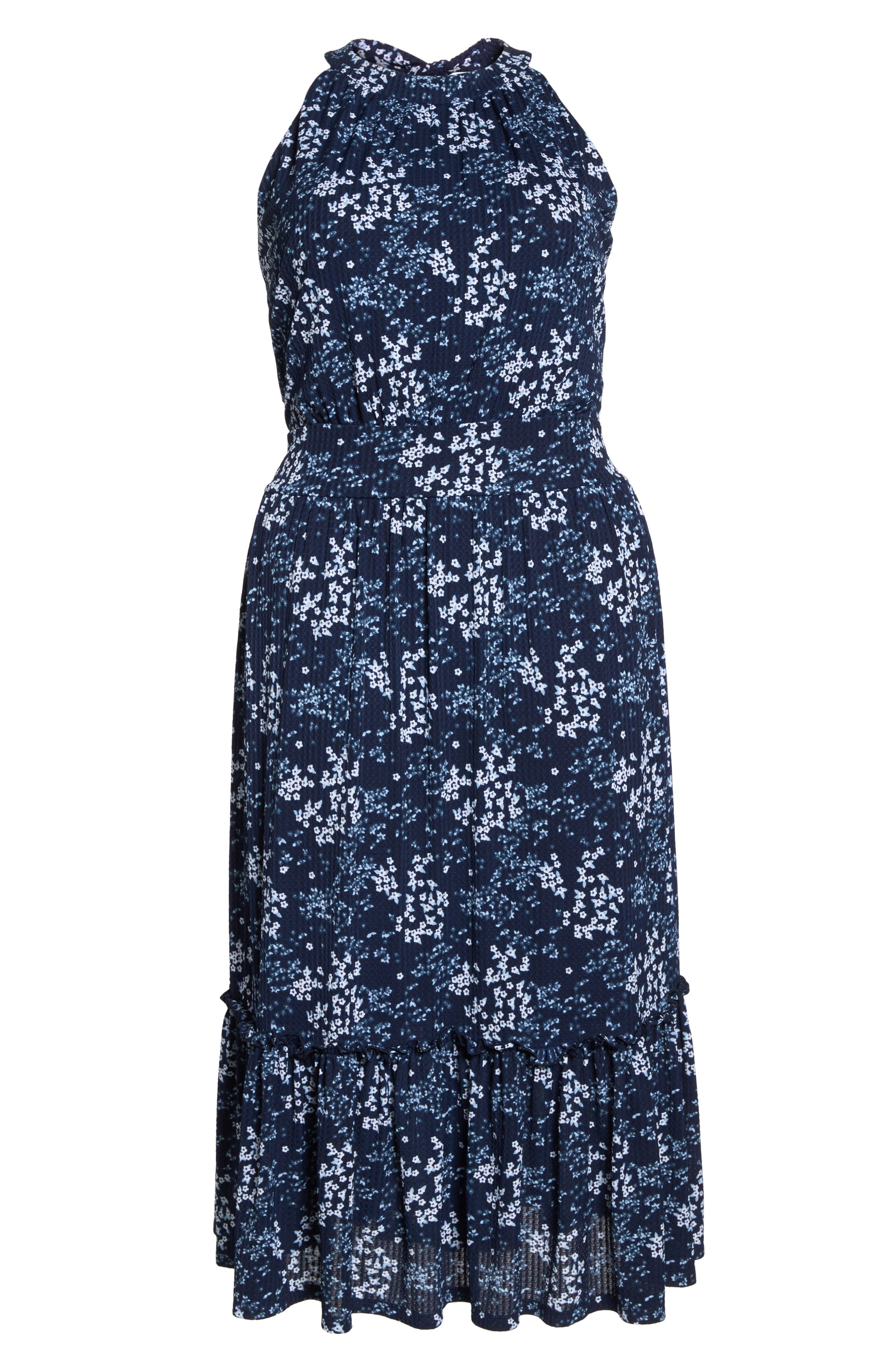 Floral Tiered Midi Halter Dress,                             Alternate thumbnail 7, color,                             True Navy/ Light Chambray
