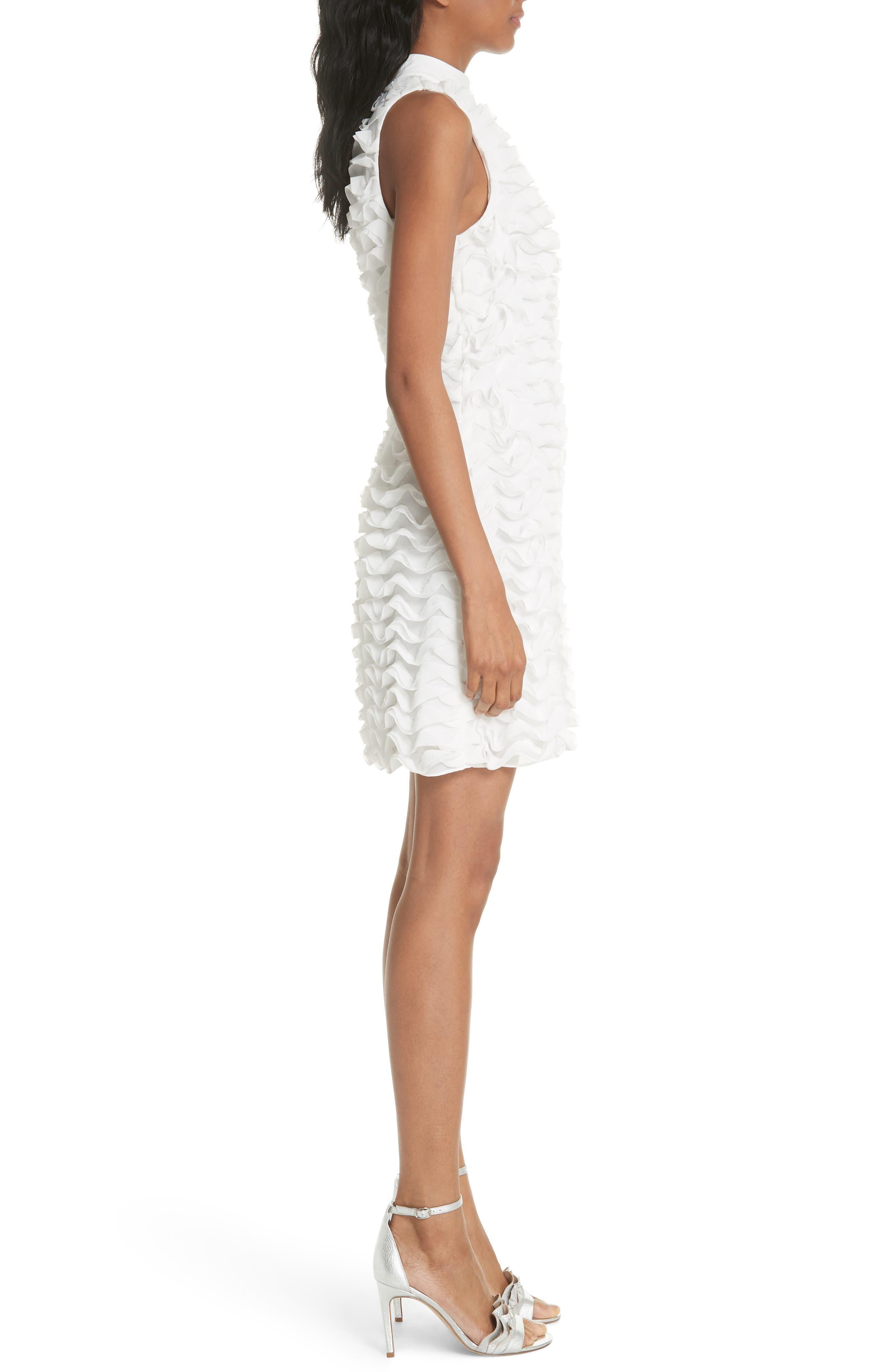 Ruffled Tunic Dress,                             Alternate thumbnail 3, color,                             White