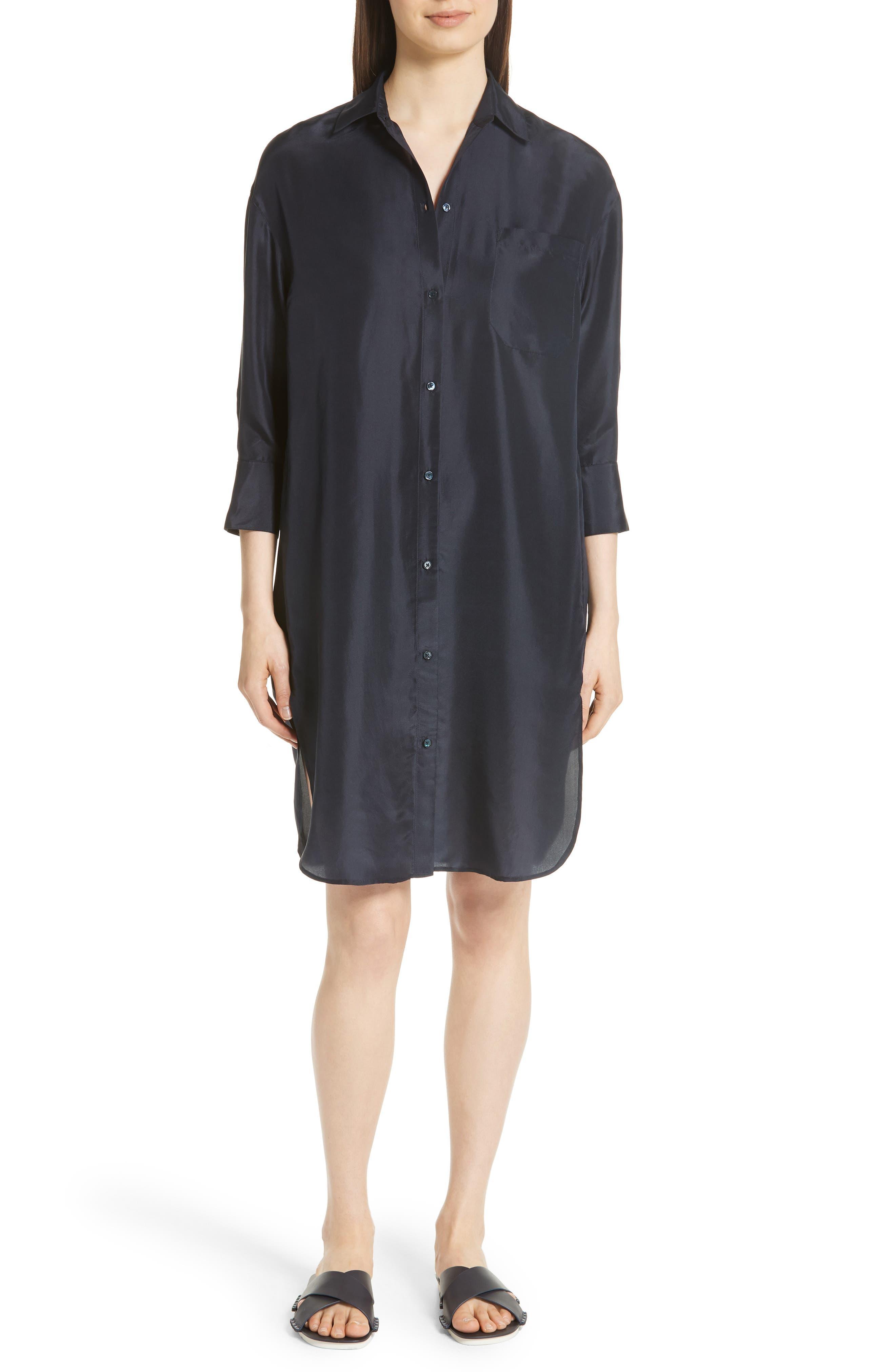 Silk Shirtdress,                         Main,                         color, Coastal