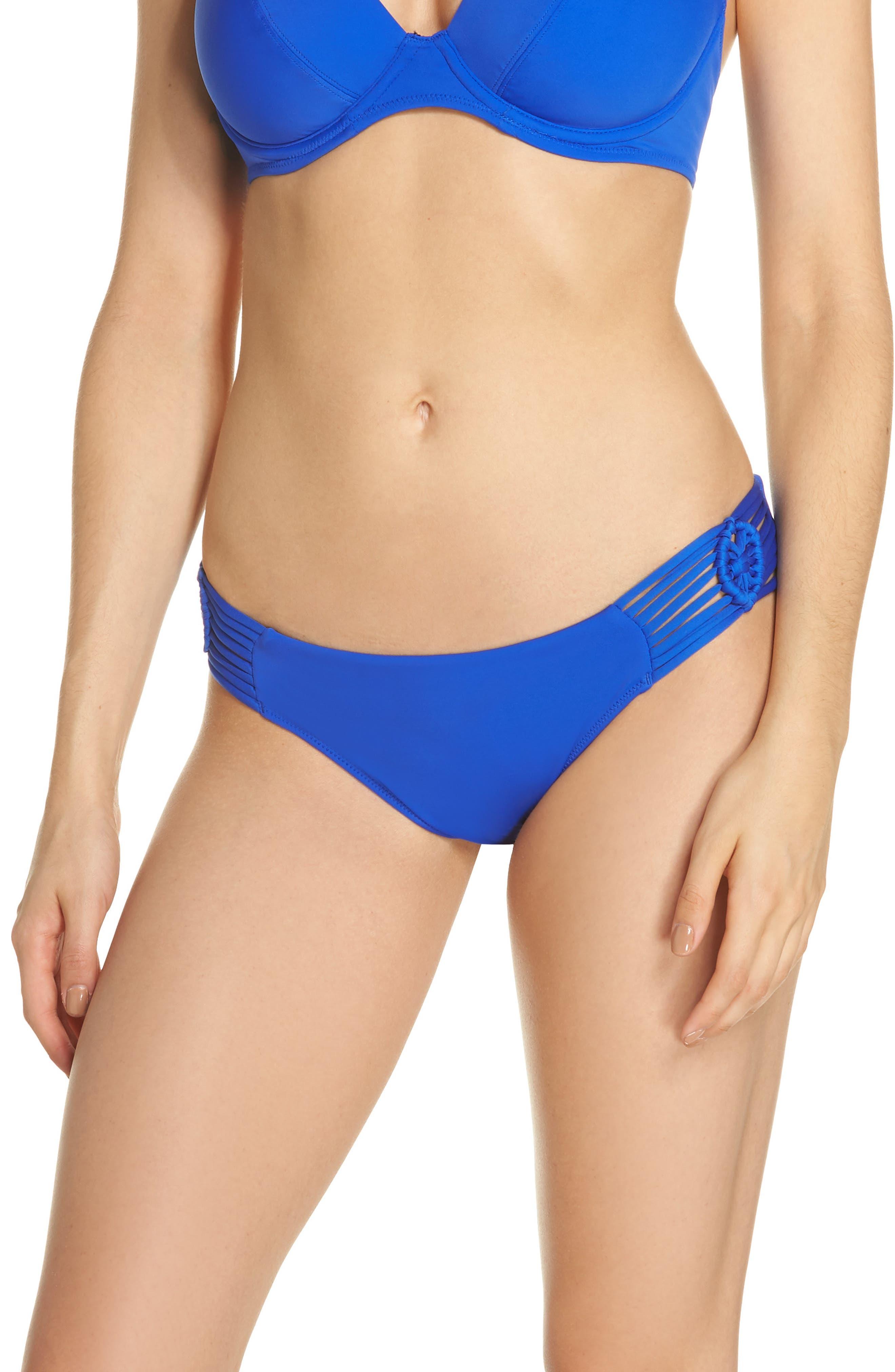 Macramé Bikini Bottoms,                         Main,                         color, Cobalt
