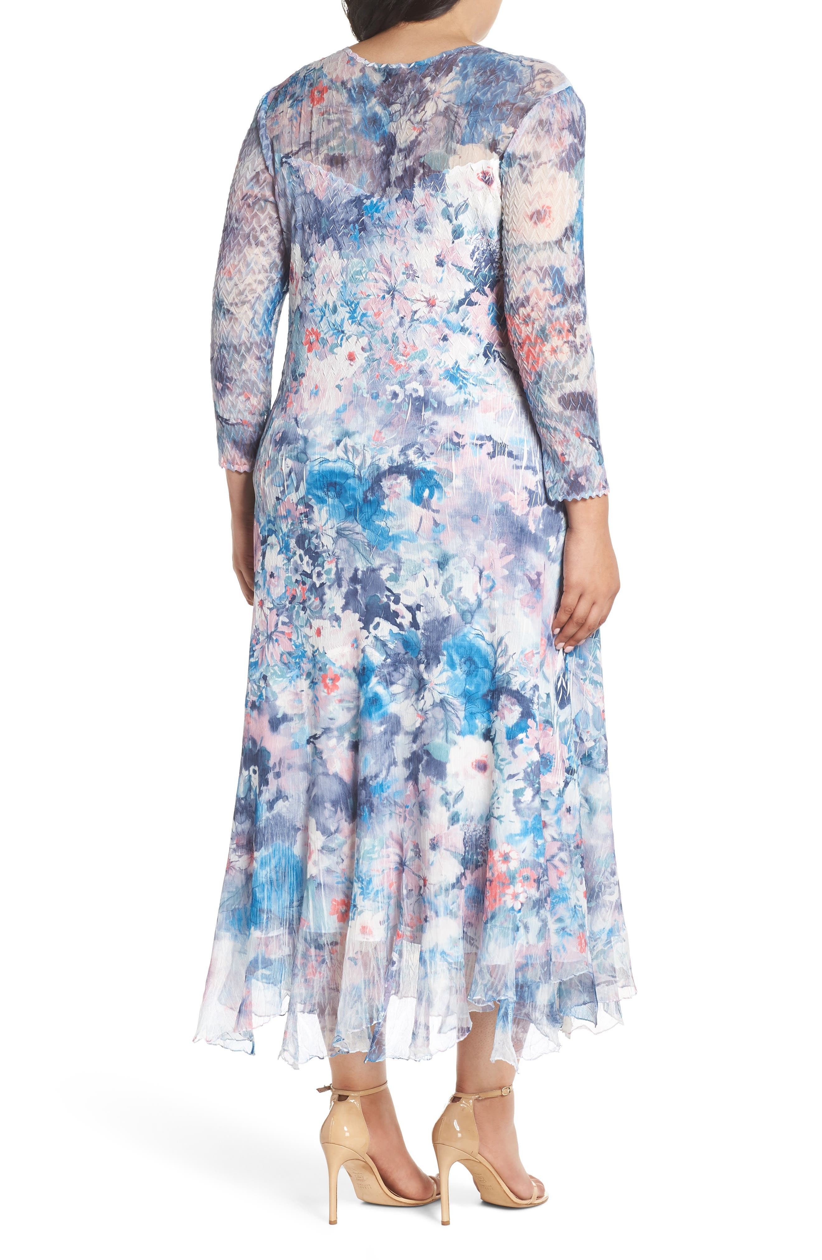 Inset Floral Charmeuse & Chiffon A-Line Dress,                             Alternate thumbnail 2, color,                             Painted Eden