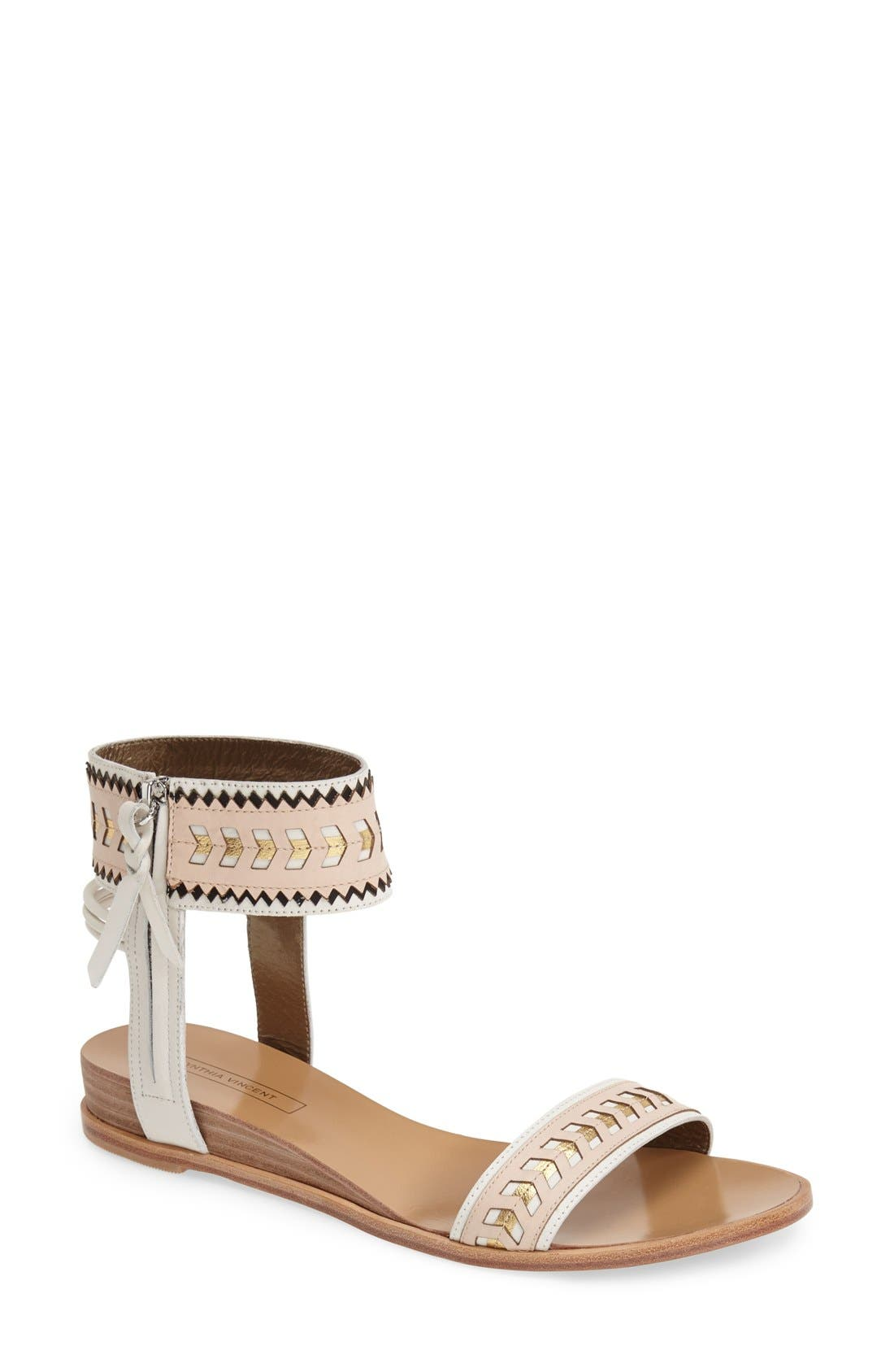 Alternate Image 1 Selected - Cynthia Vincent 'Fayette' Leather Ankle Strap Sandal (Women)