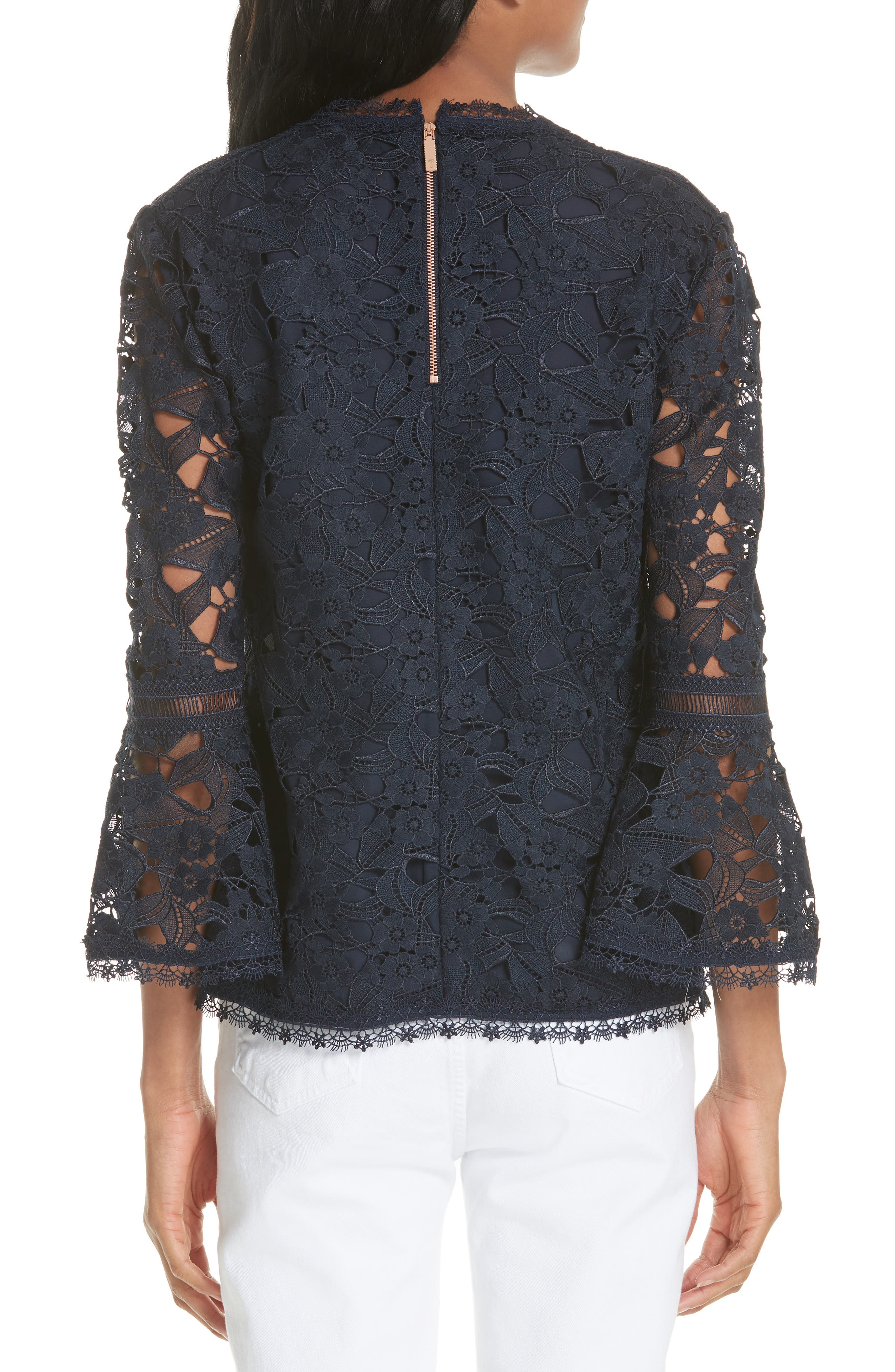 Flare Cuff Lace Top,                             Alternate thumbnail 2, color,                             Navy