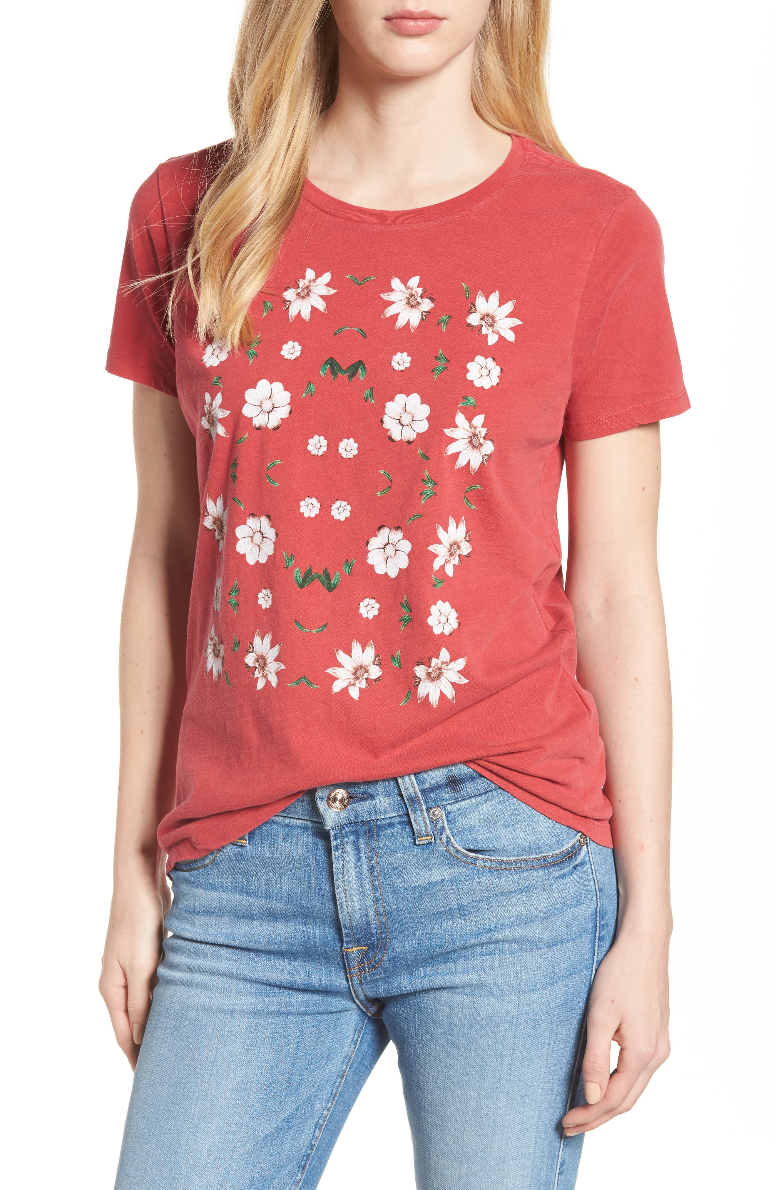 Main Image - Lucky Brand Flowers Distressed Tee