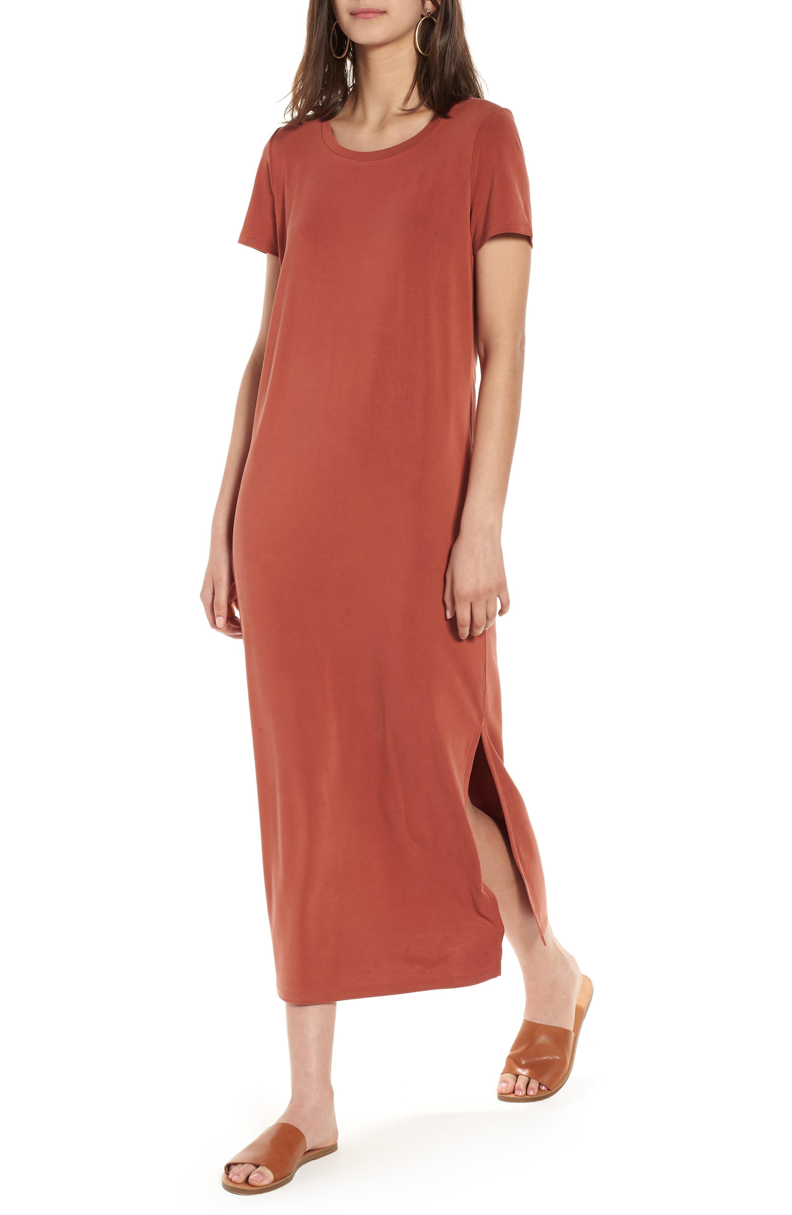 Sandwashed Maxi T-Shirt Dress,                             Main thumbnail 1, color,                             Rusty Torch
