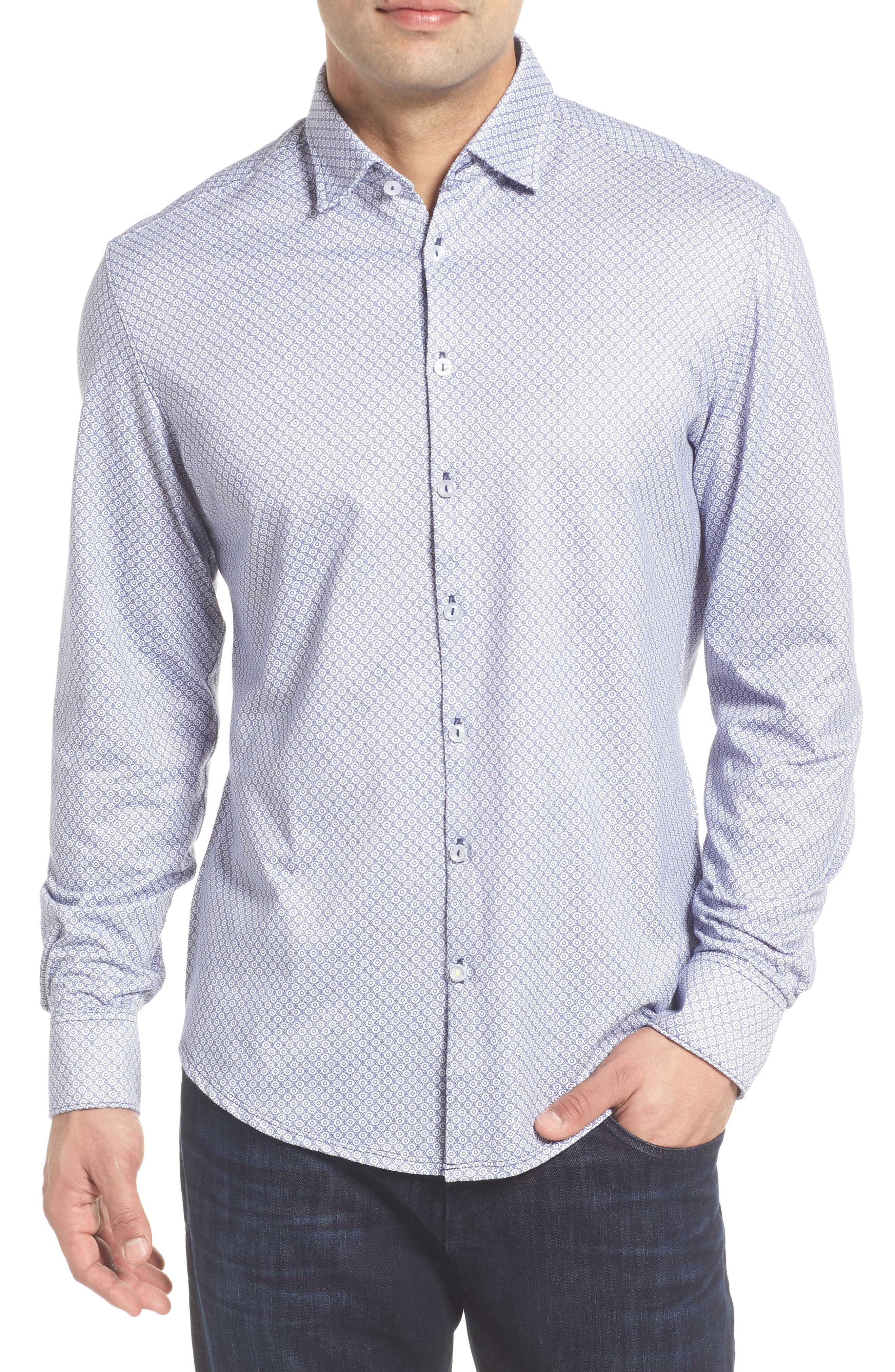 Stone Rose Slim Fit Geo Print Sport Shirt
