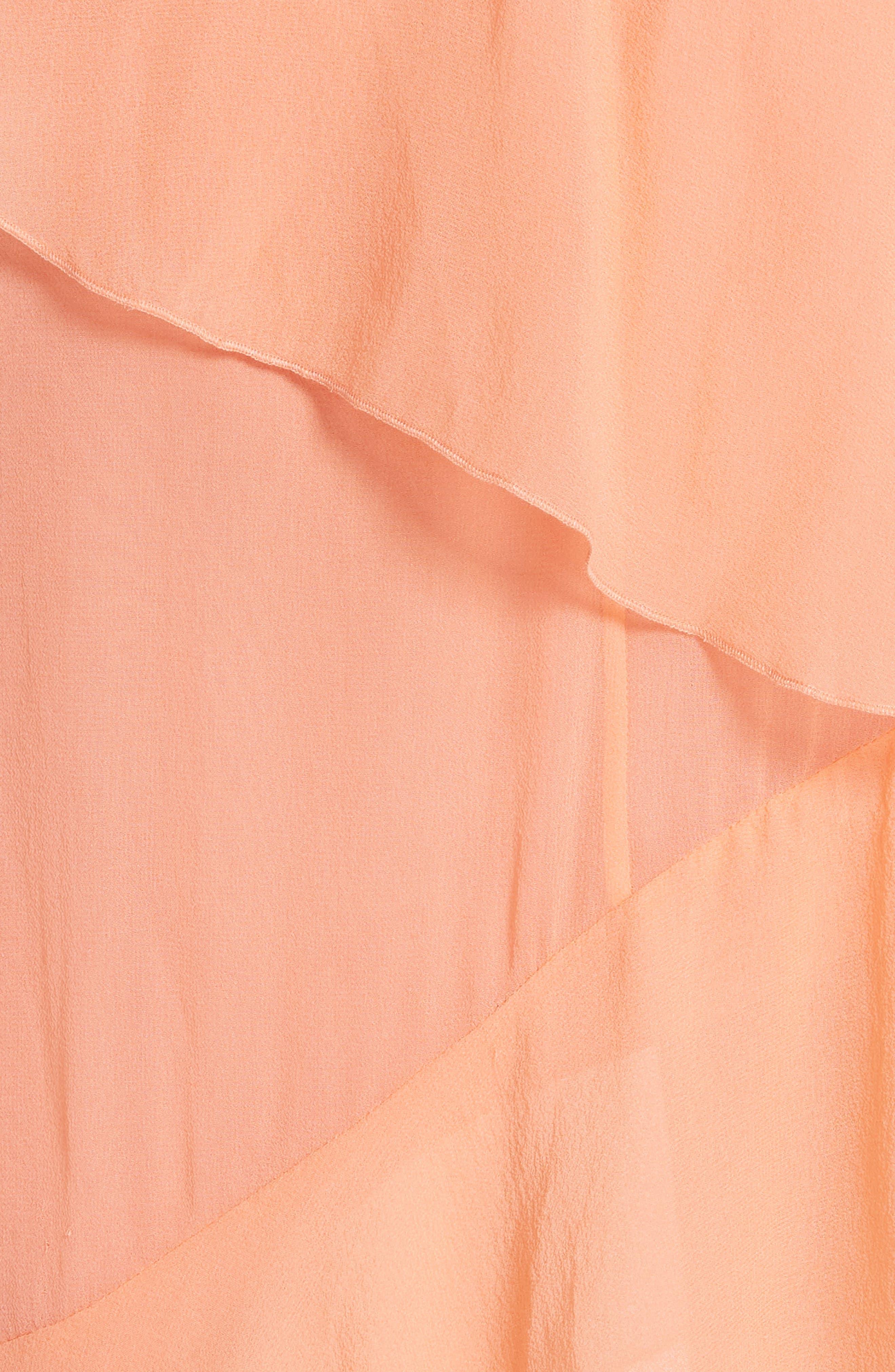 Olympia Asymmetrical Silk Chiffon Dress,                             Alternate thumbnail 5, color,                             Peach