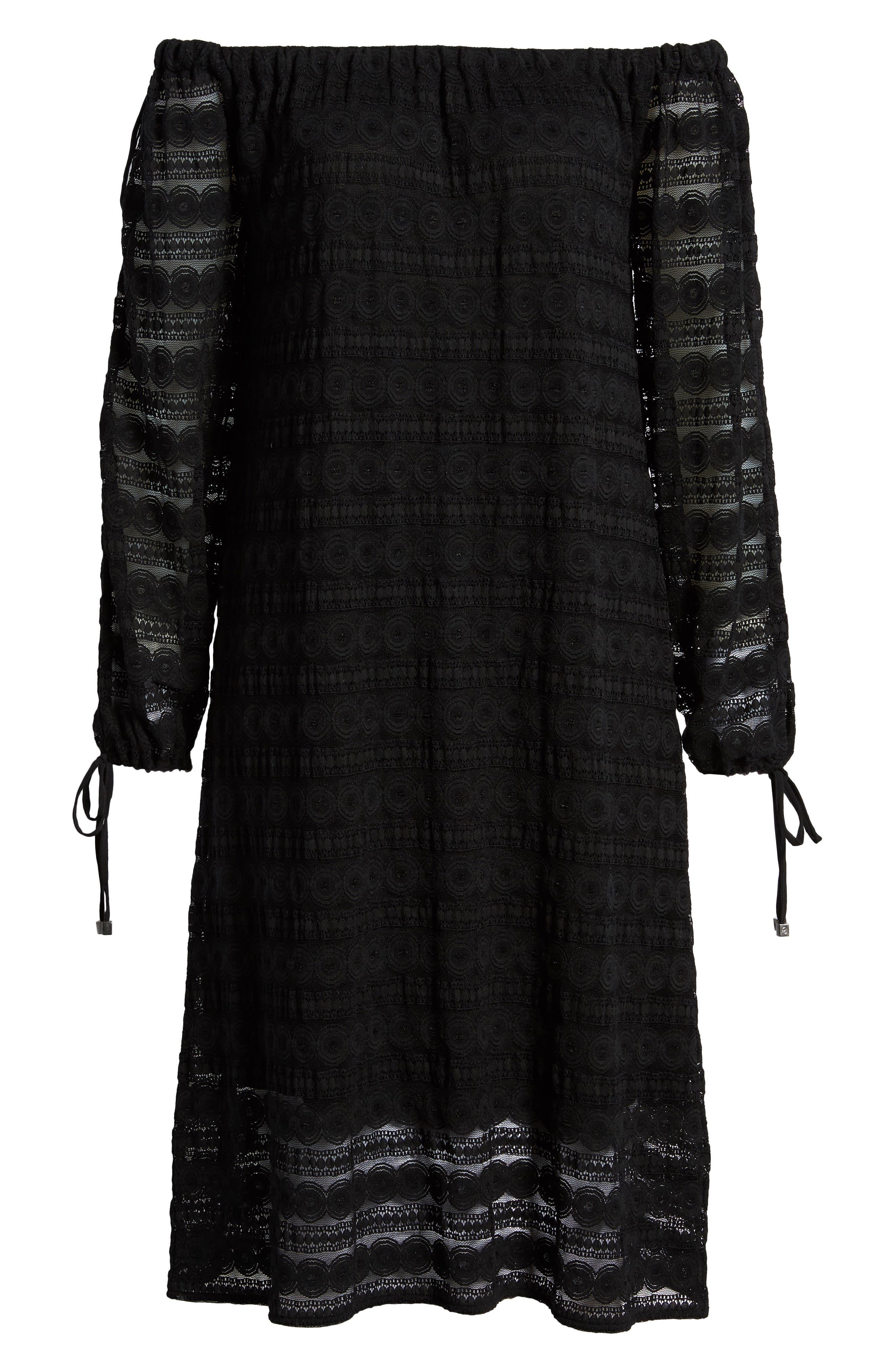 Circle Medallion Lace Off the Shoulder Dress,                             Alternate thumbnail 7, color,                             Black