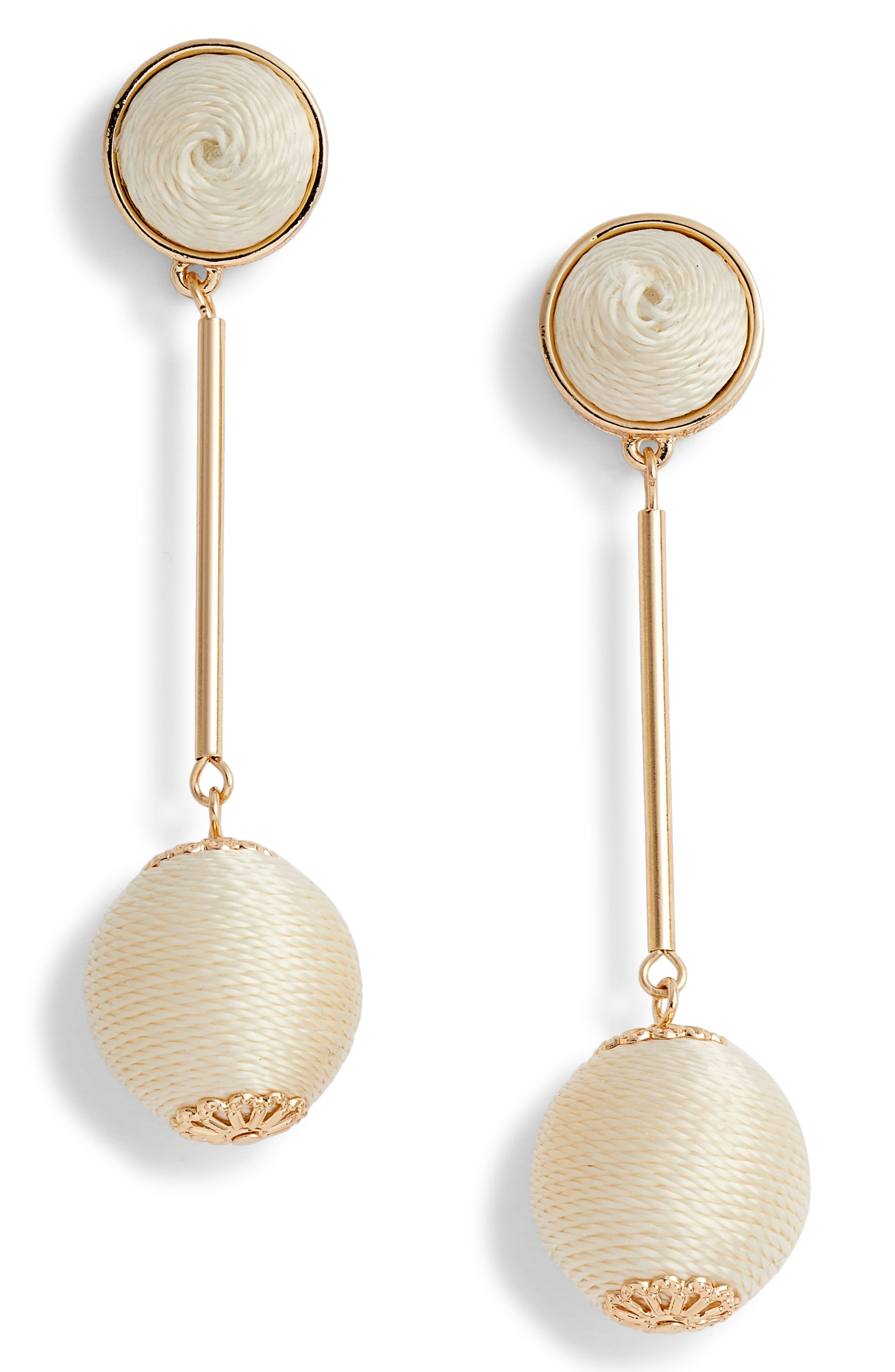 Mod Ball Drop Earrings,                         Main,                         color, White- Gold
