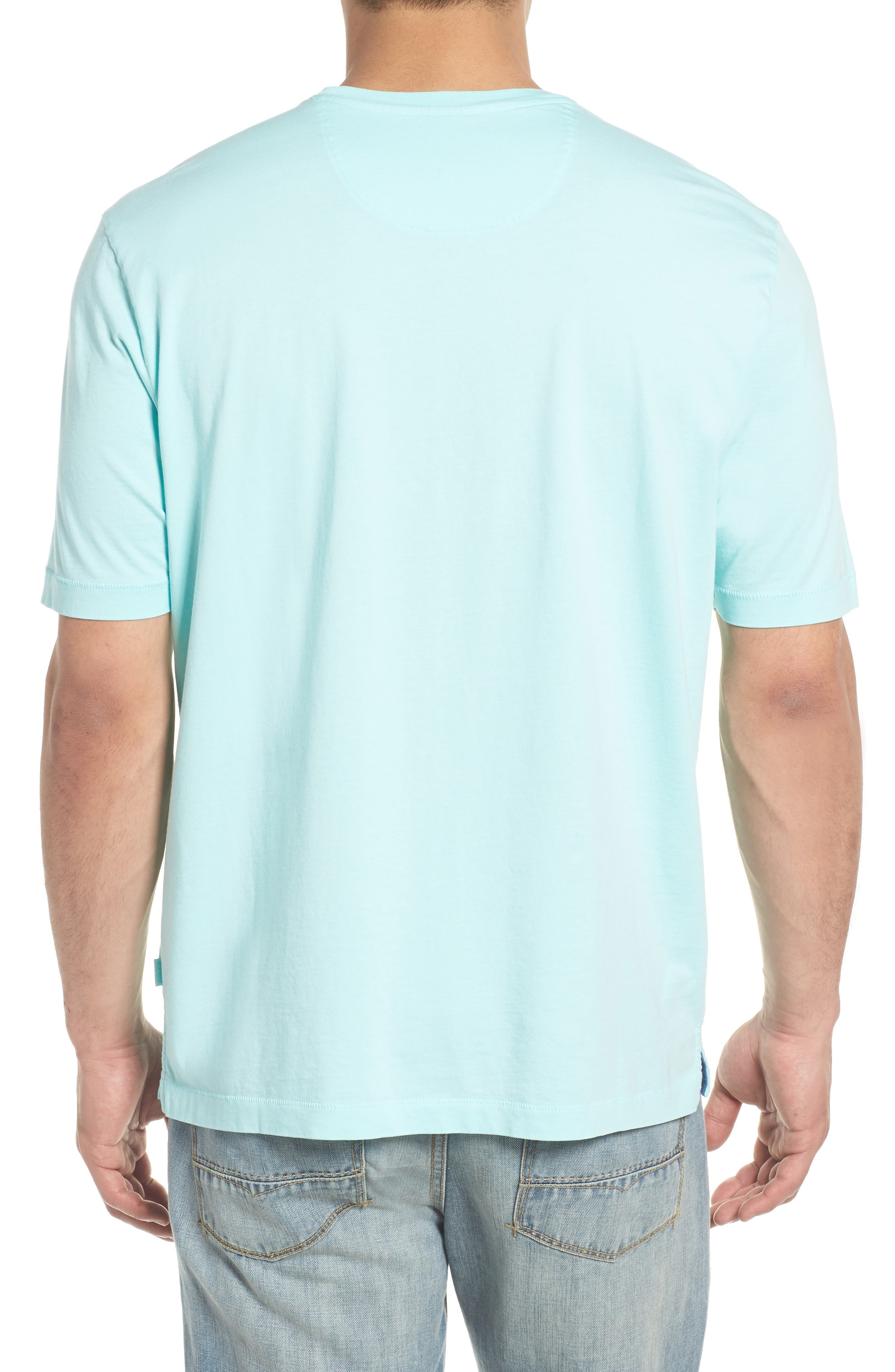 'New Bali Sky' Original Fit Crewneck Pocket T-Shirt,                             Alternate thumbnail 2, color,                             Aqua Mist