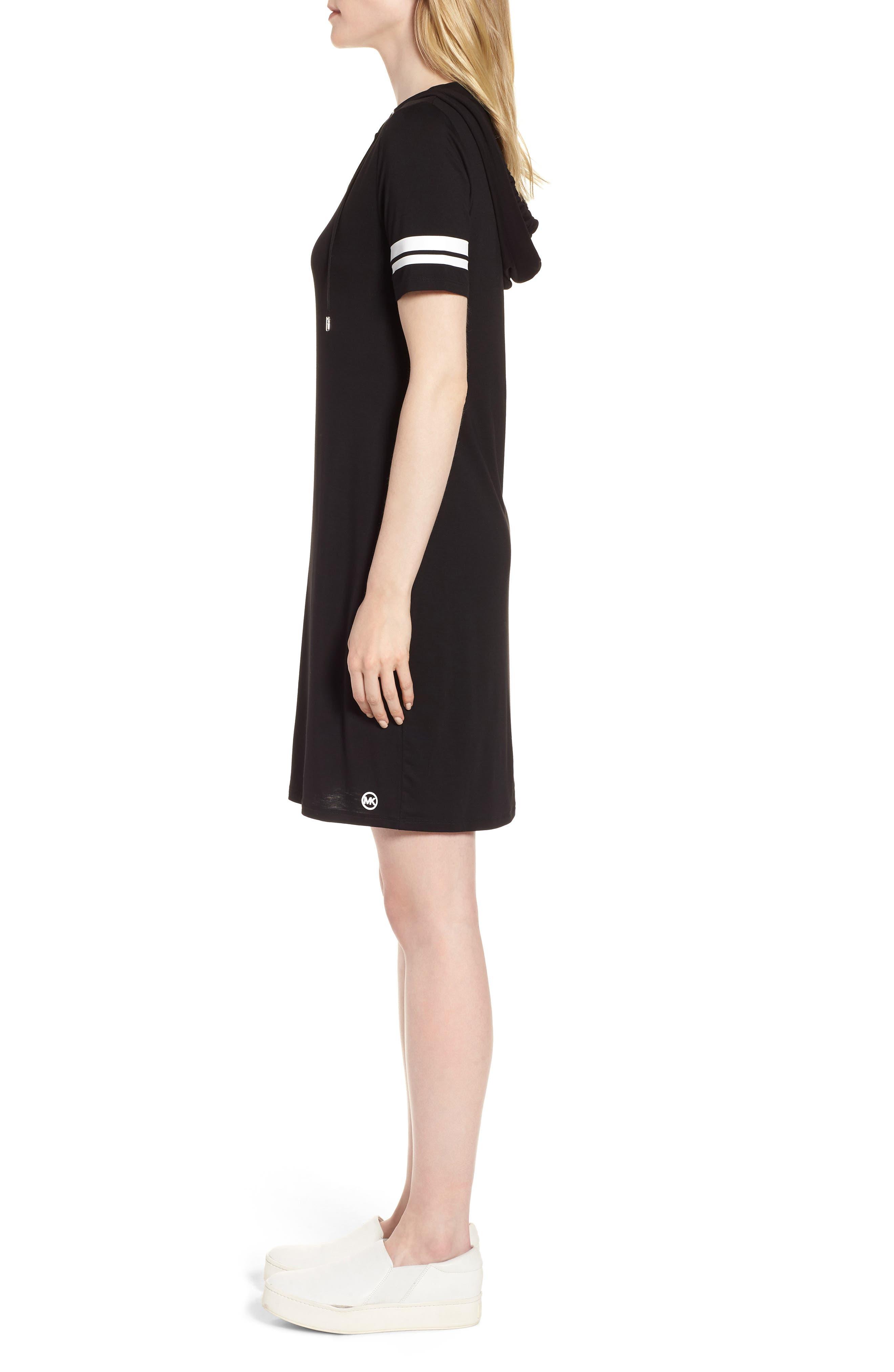 MICHAEL Michal Kors Stripe Sleeve Hoodie Dress,                             Alternate thumbnail 3, color,                             Black