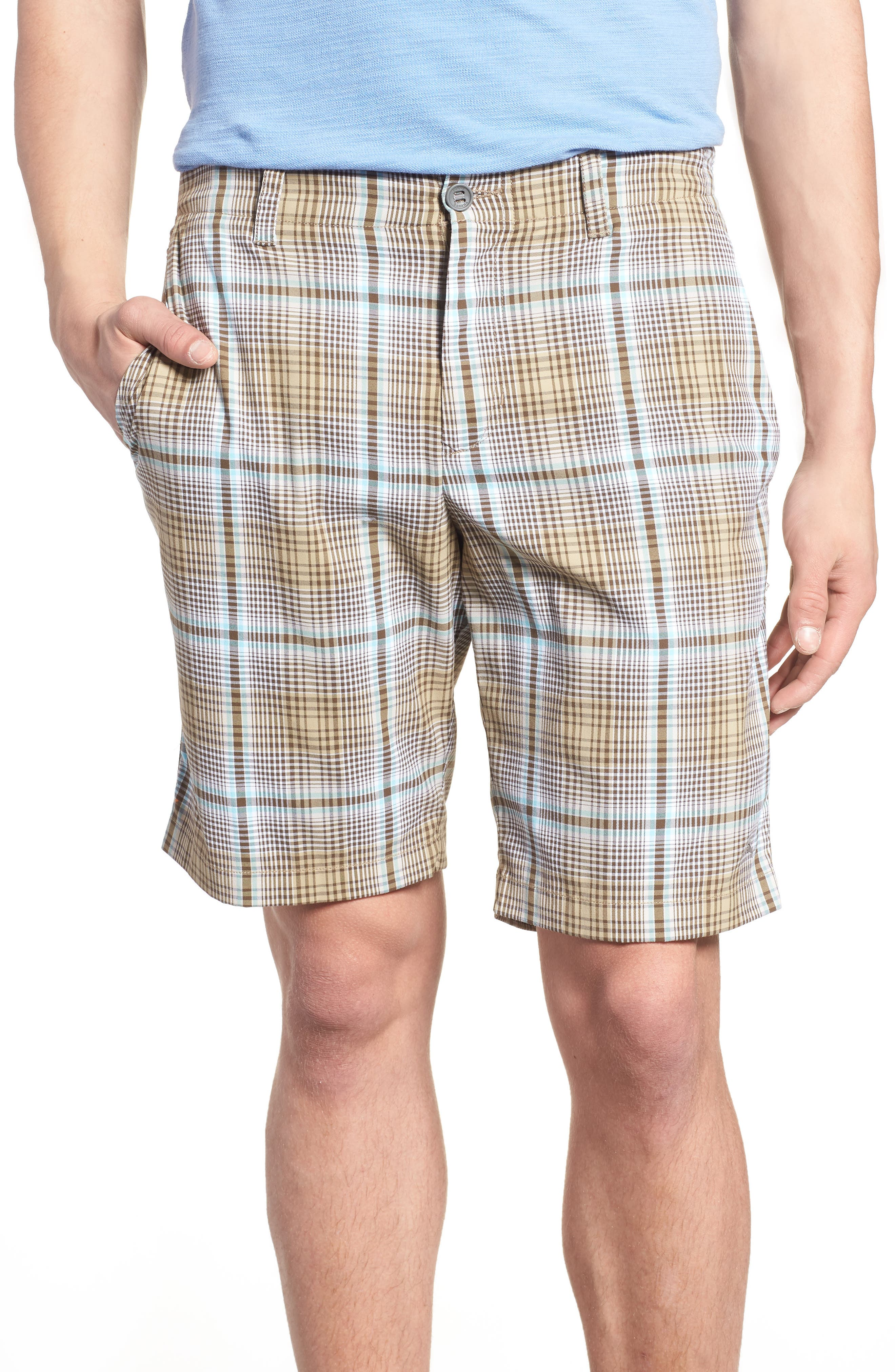 Playa Tech Classic Fit Plaid Shorts,                             Main thumbnail 1, color,                             Khaki Sands