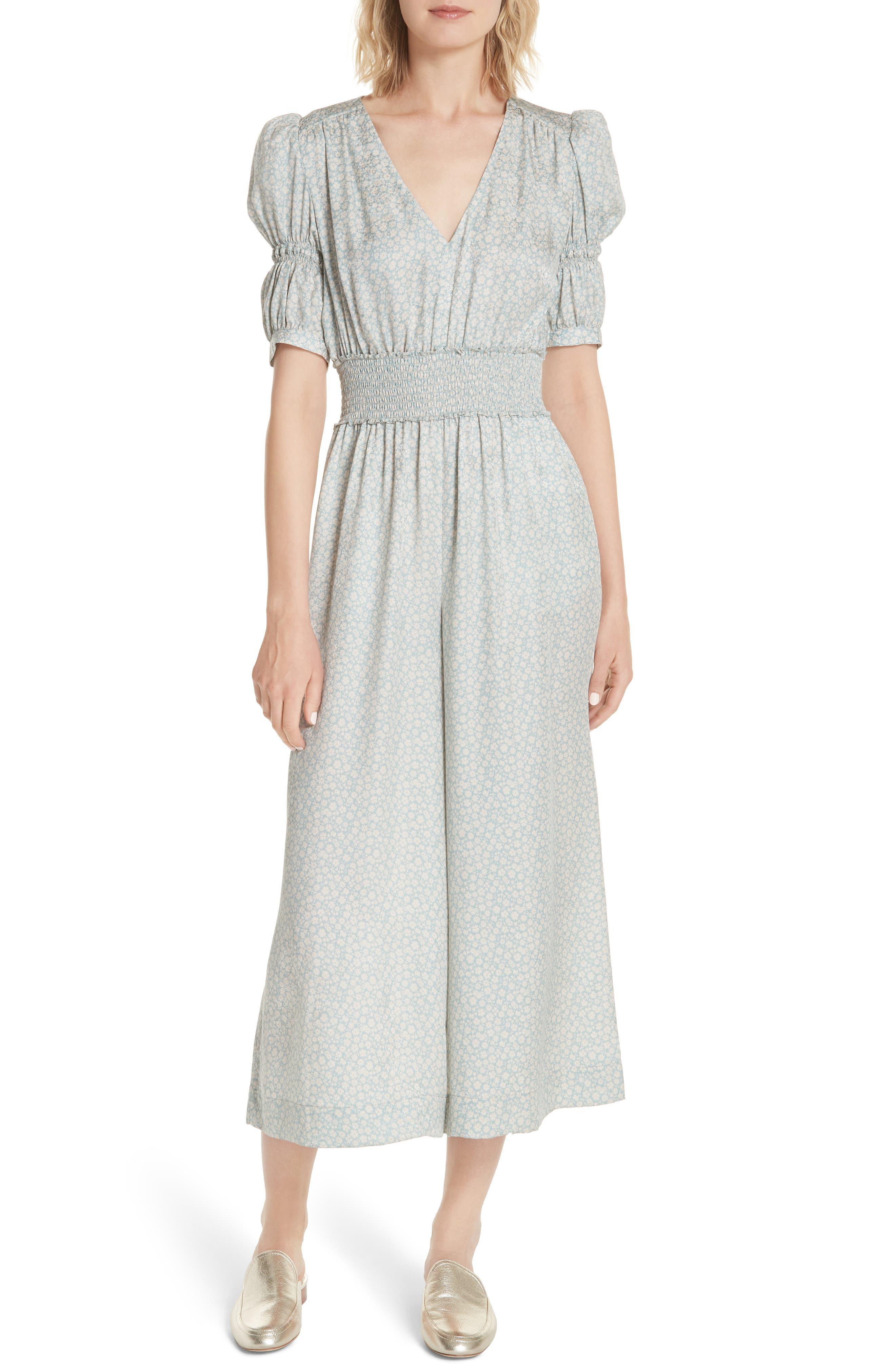 Lauren Puff Sleeve Floral Silk Jumpsuit,                         Main,                         color, Sage Combo