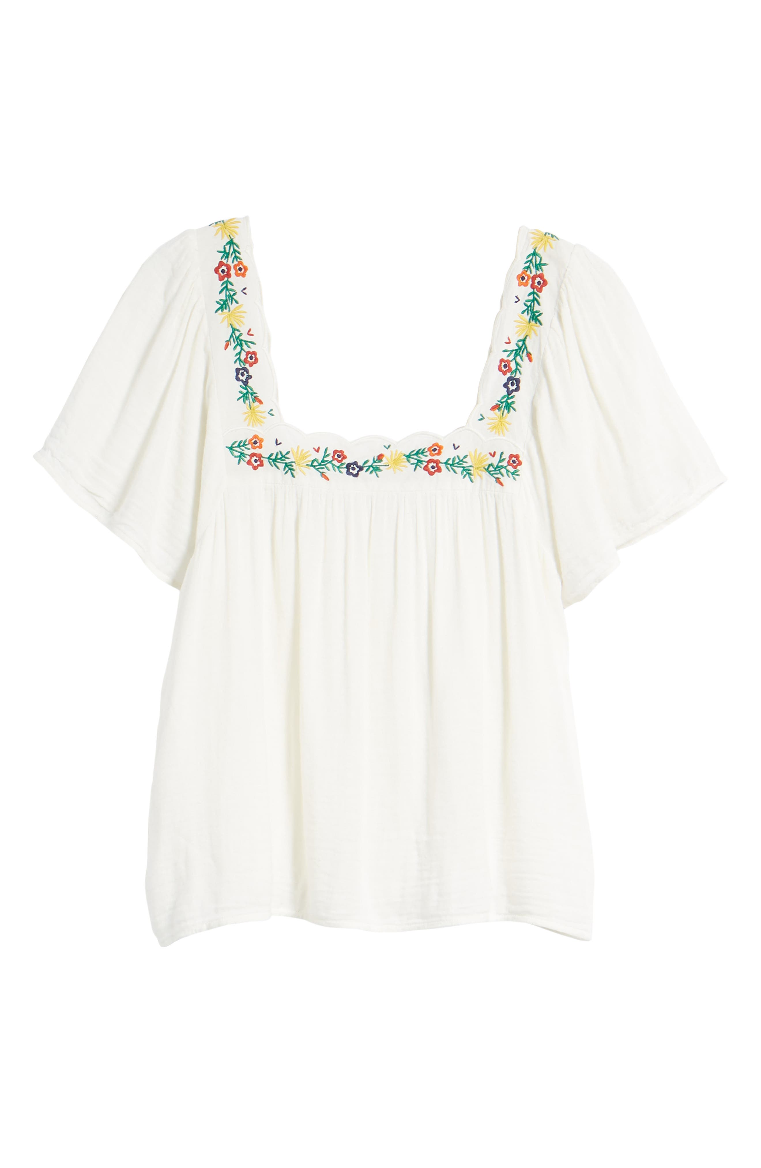 Bea Scalloped Top,                             Alternate thumbnail 7, color,                             Off White