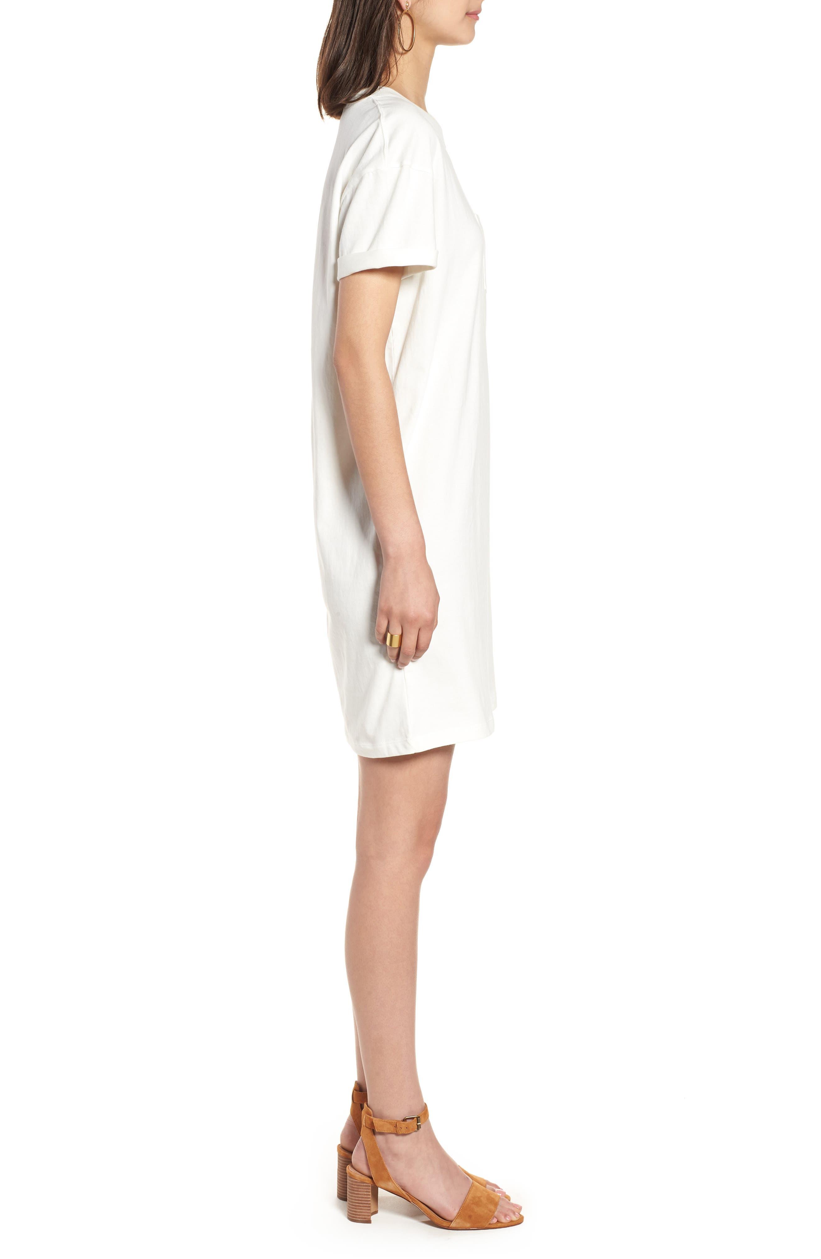 Pocket T-Shirt Dress,                             Alternate thumbnail 3, color,                             Bright Ivory