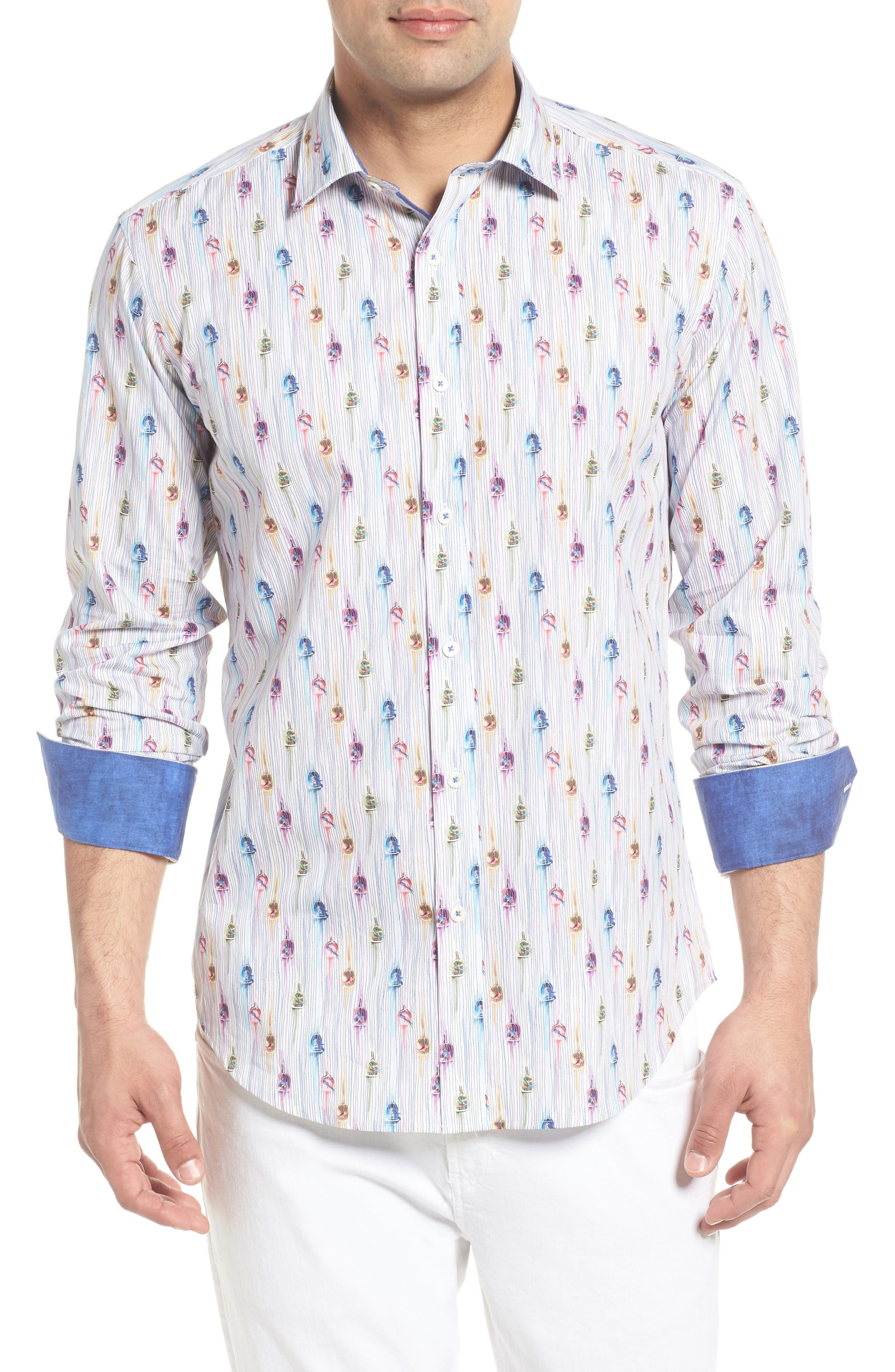 Shaped Fit Caged Bird Sport Shirt,                             Main thumbnail 1, color,                             Candy