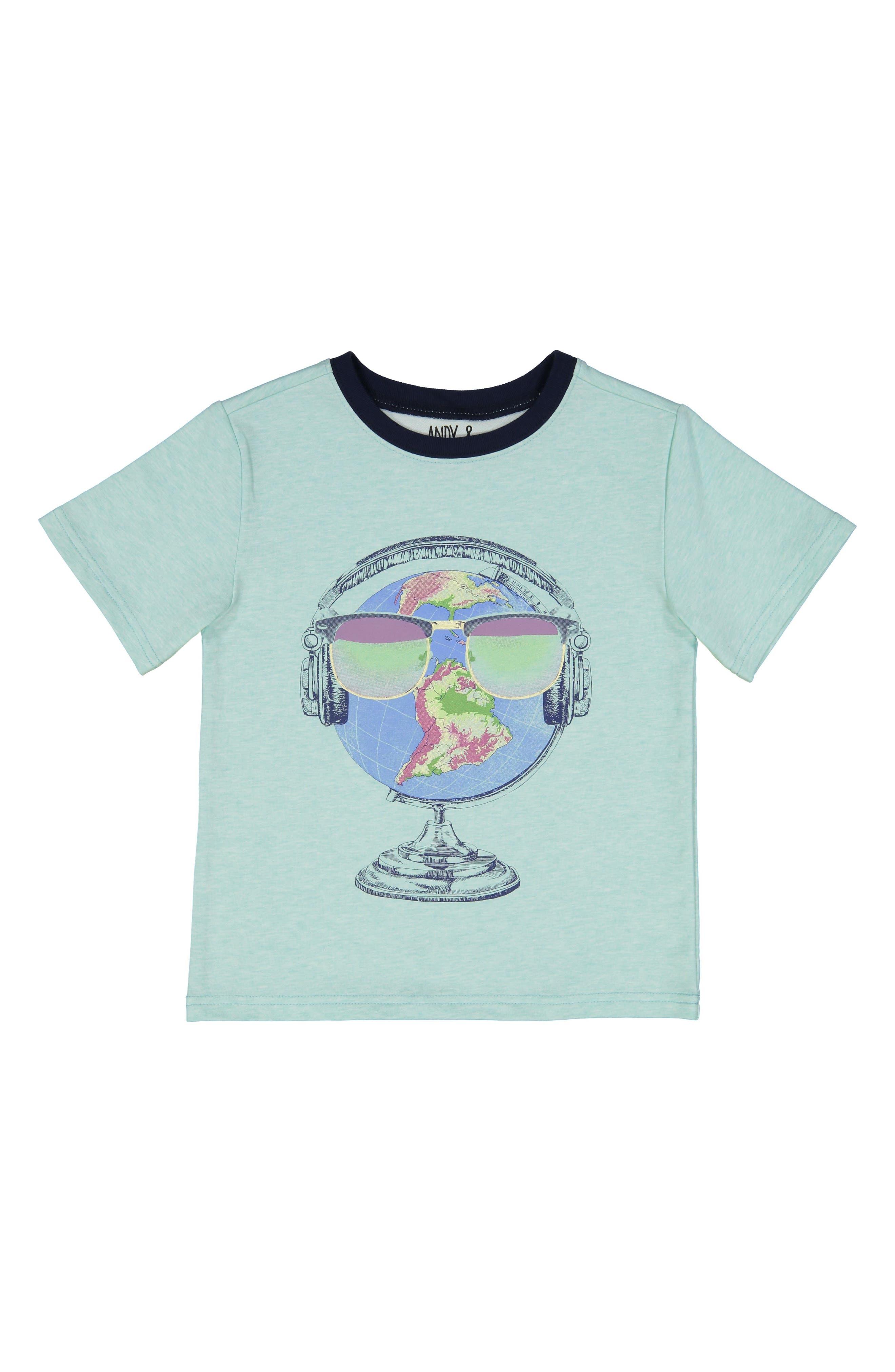 Globe Graphic T-Shirt,                             Main thumbnail 1, color,                             Aqua